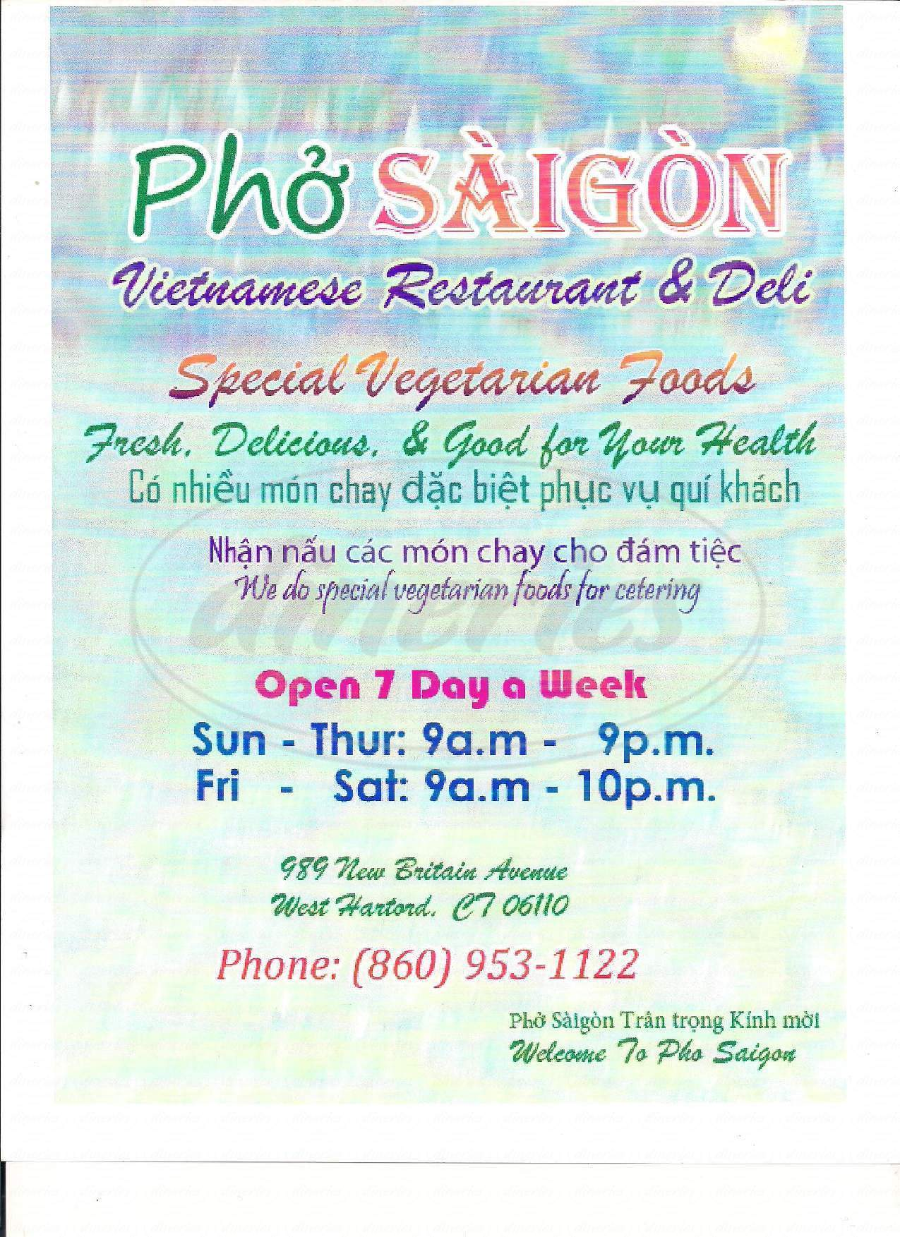 menu for Pho Saigon Authentic Vietnamese Restaurant & Deli