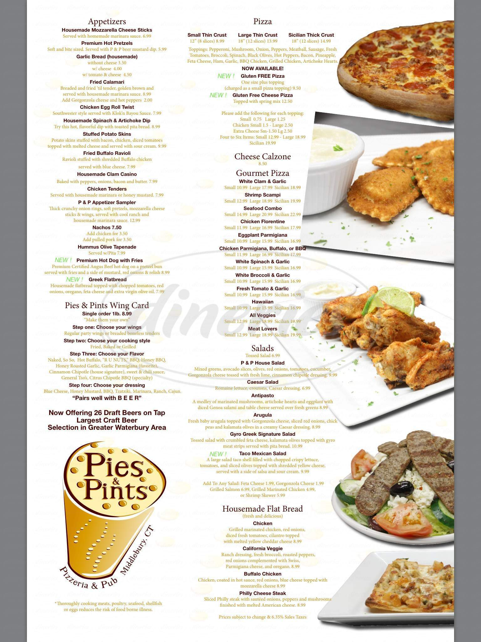 menu for Pies & Pints of Middlebury