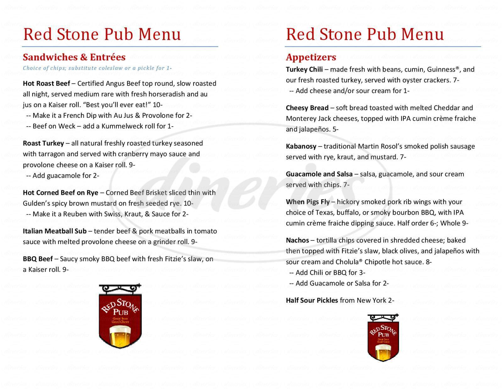 menu for Red Stone Pub
