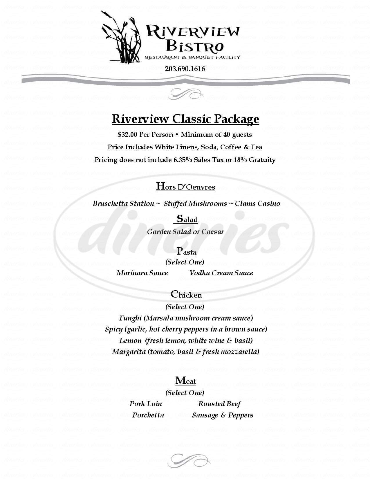 menu for Riverview Bistro