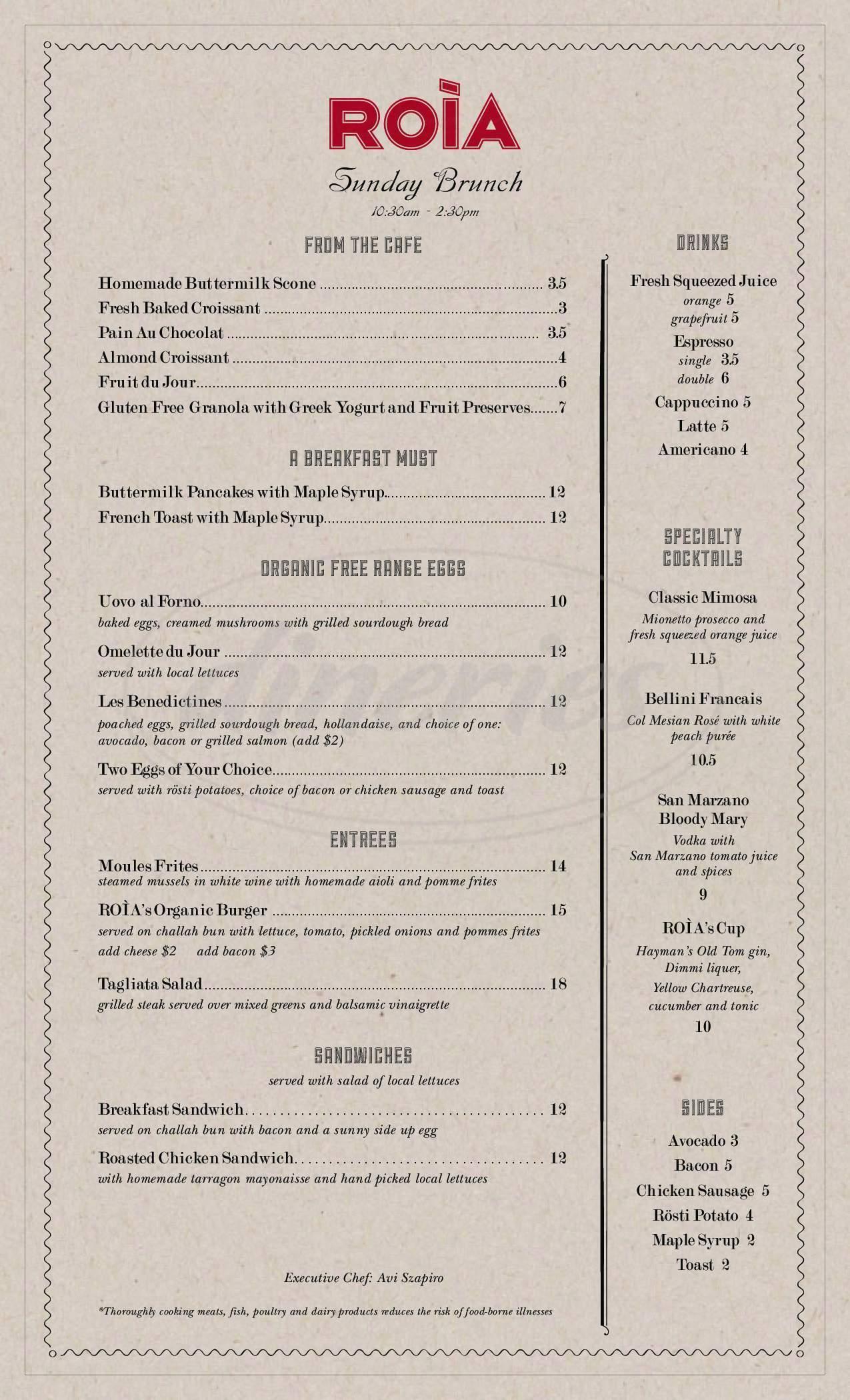 menu for ROIA Restaurant and Cafe