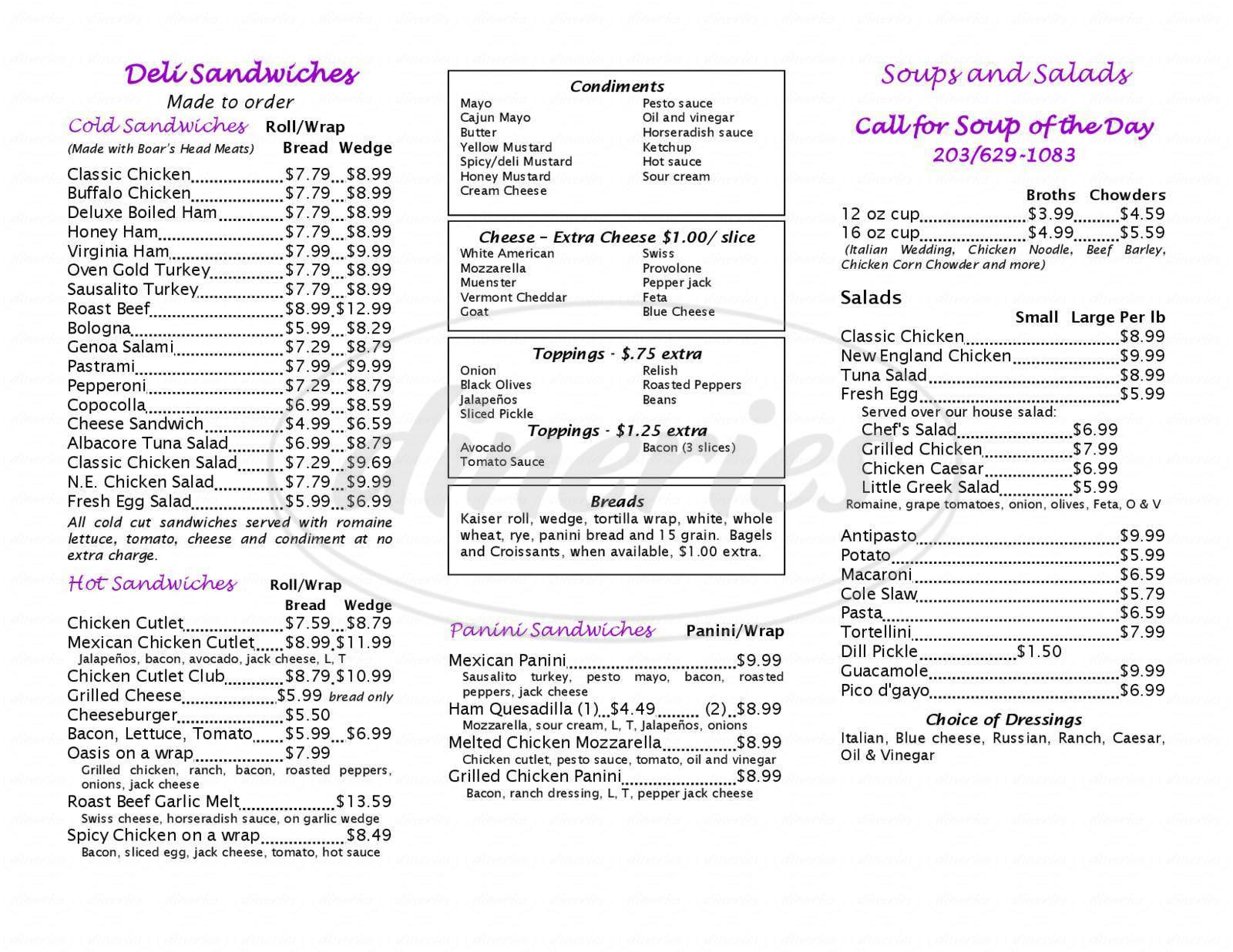 menu for The Round Hill Store