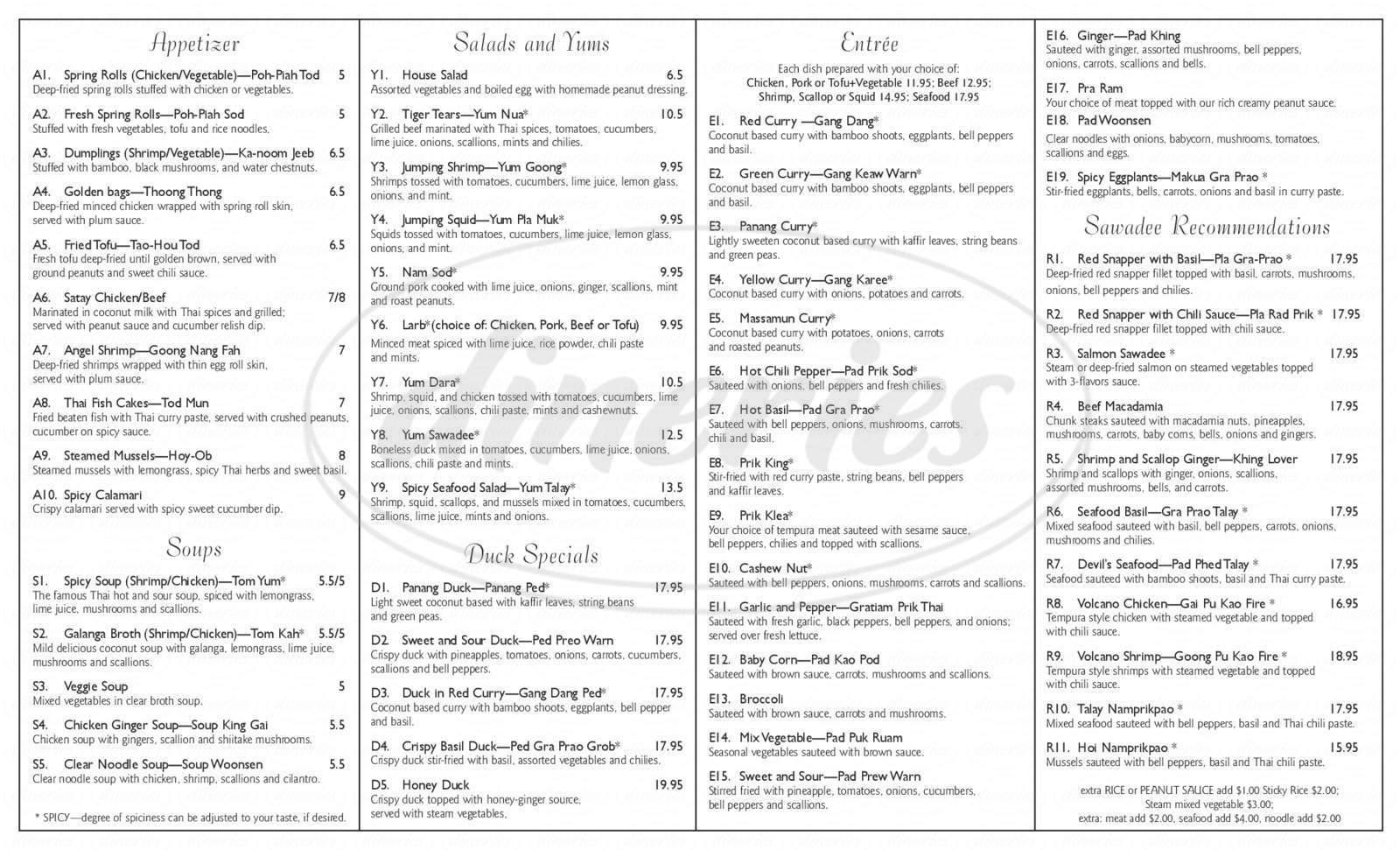 menu for Sawadee Thai Cuisine