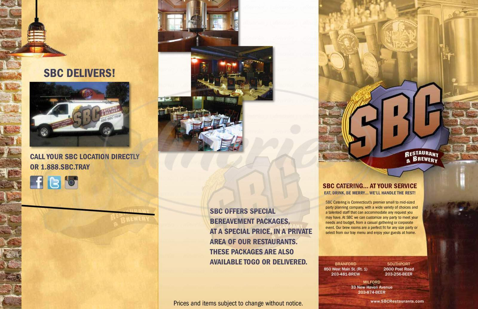 menu for SBC Restaurant & Brewery
