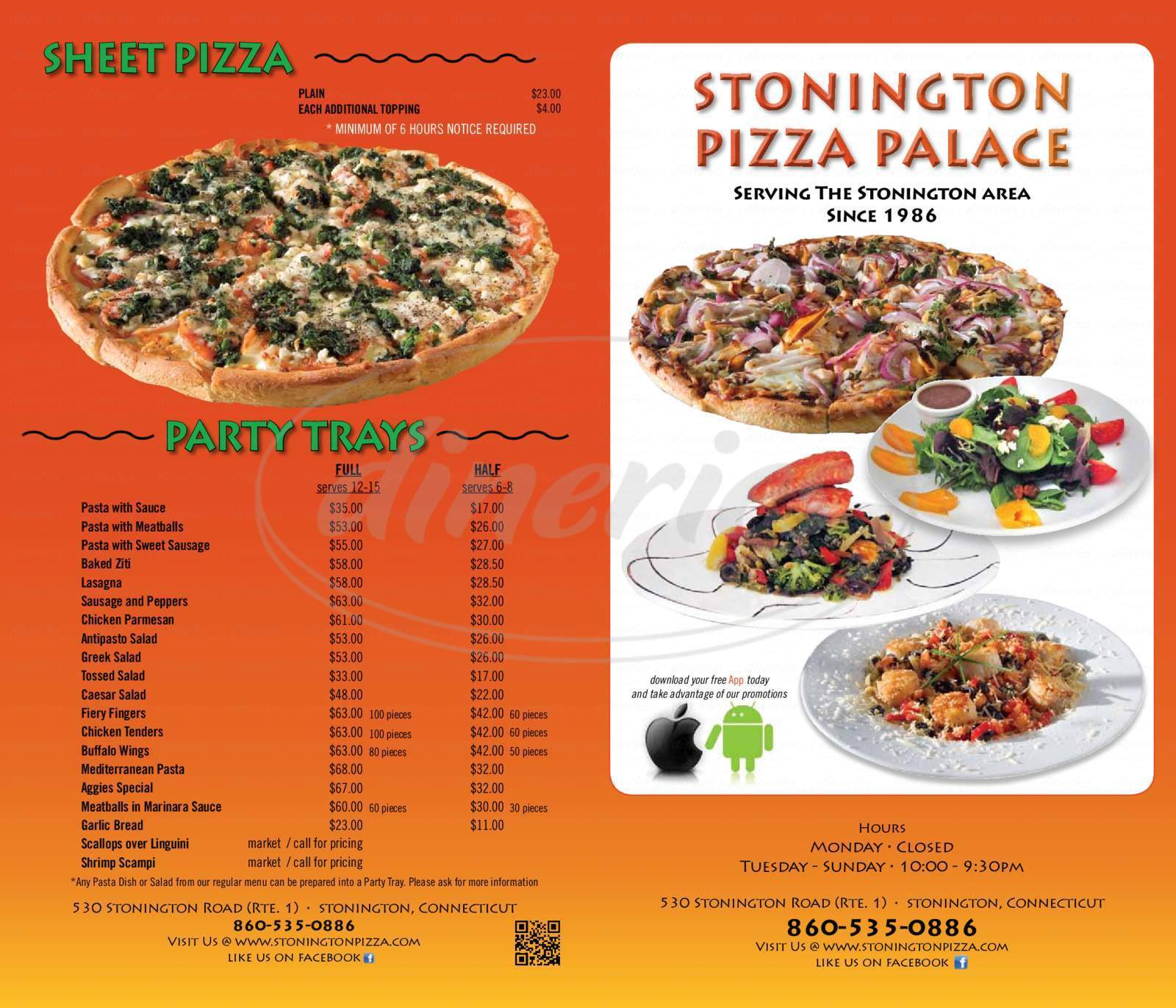 menu for Stonington Pizza Palace