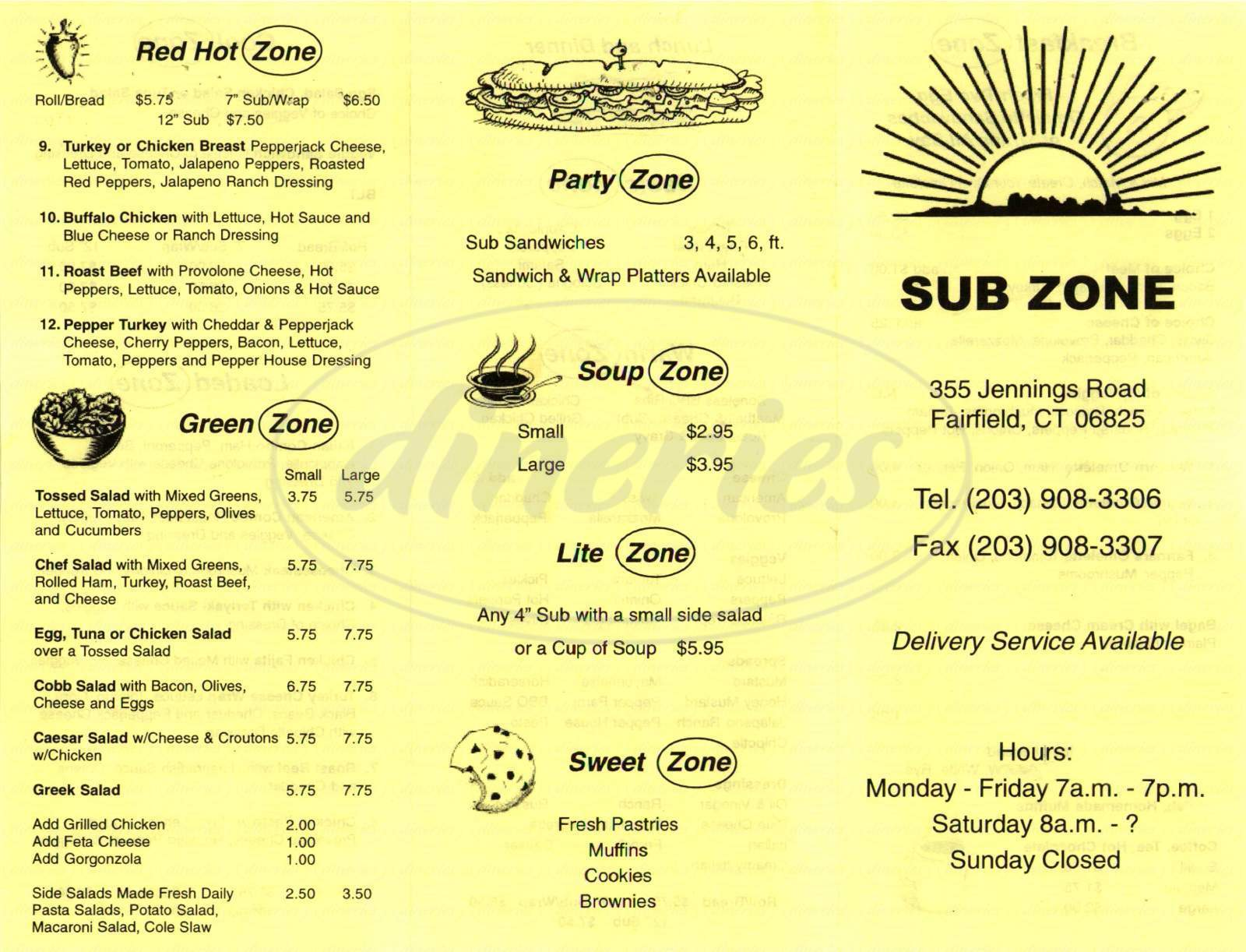 menu for Sub Zone