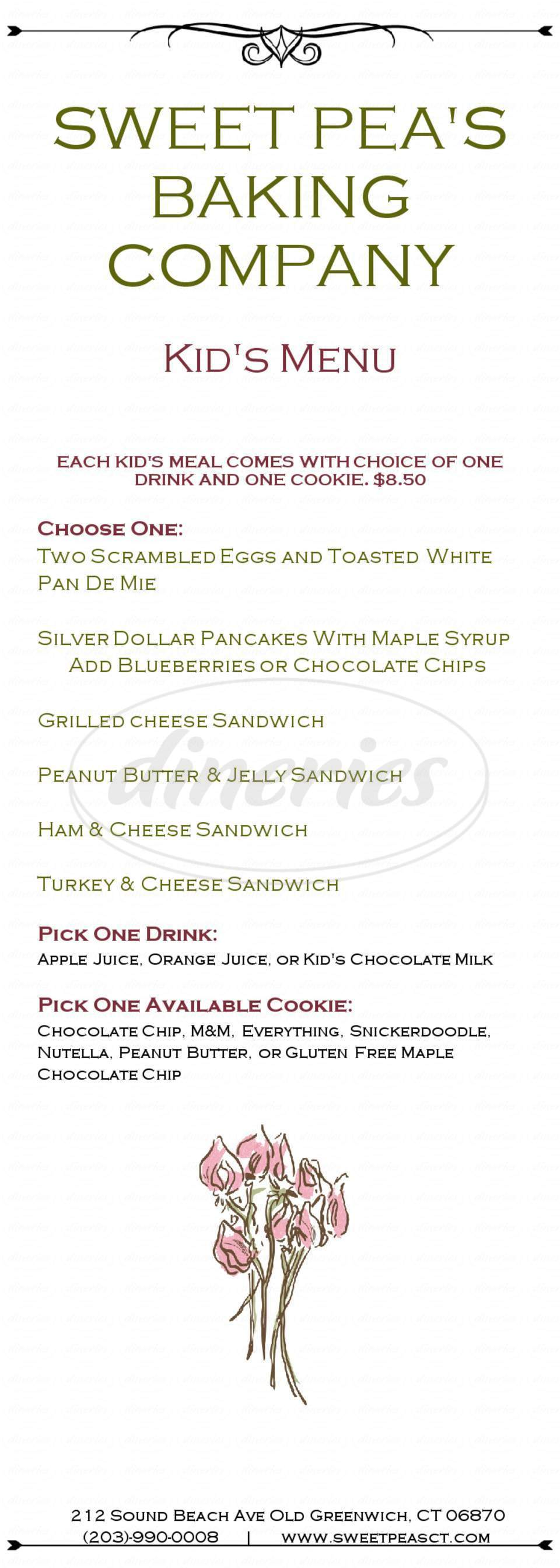 menu for Sweet Pea's Baking Company