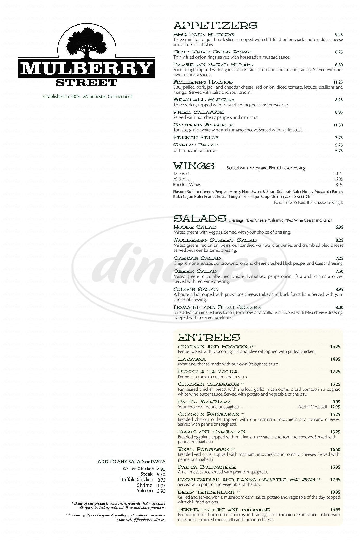 menu for Mulberry Street Pizza