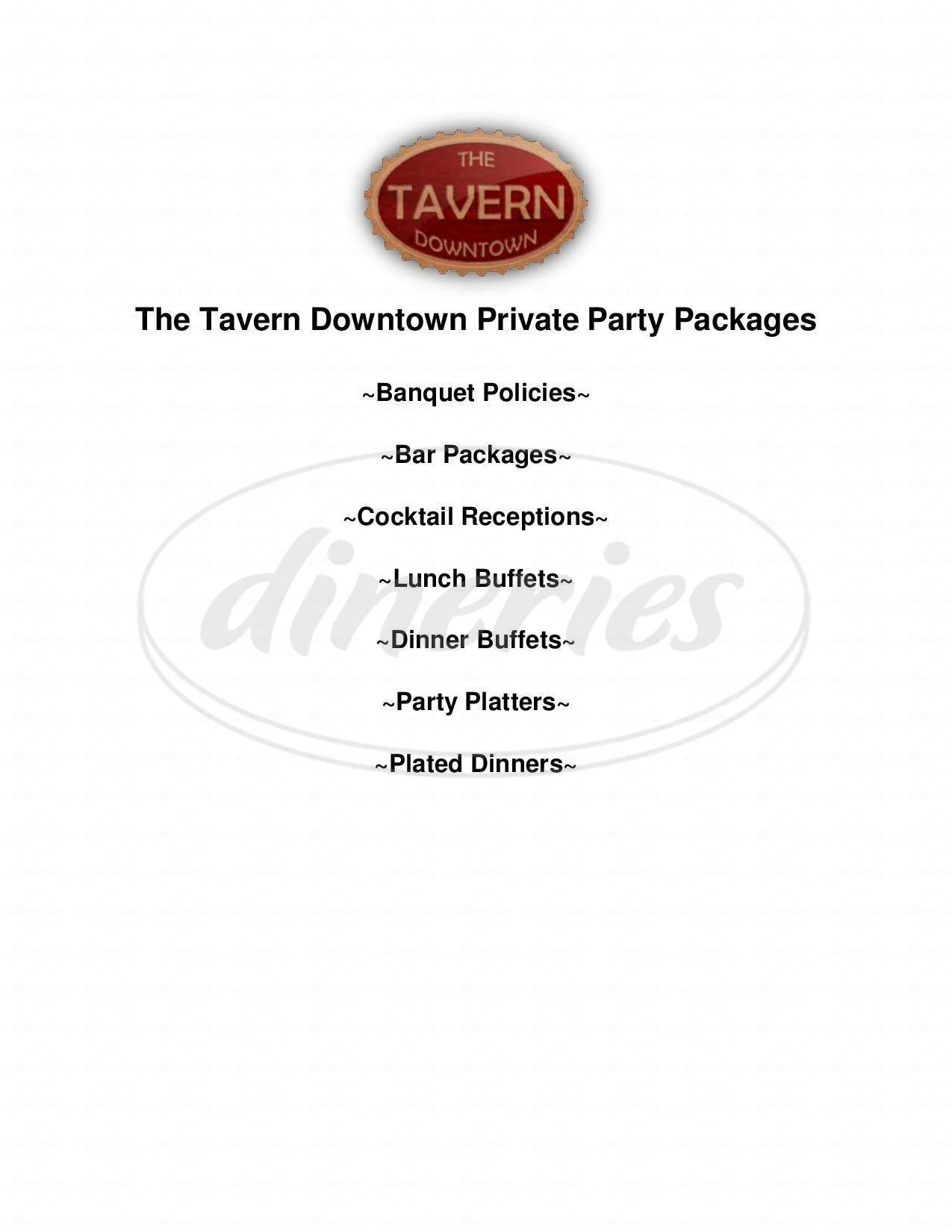 menu for Tavern at the Exchange