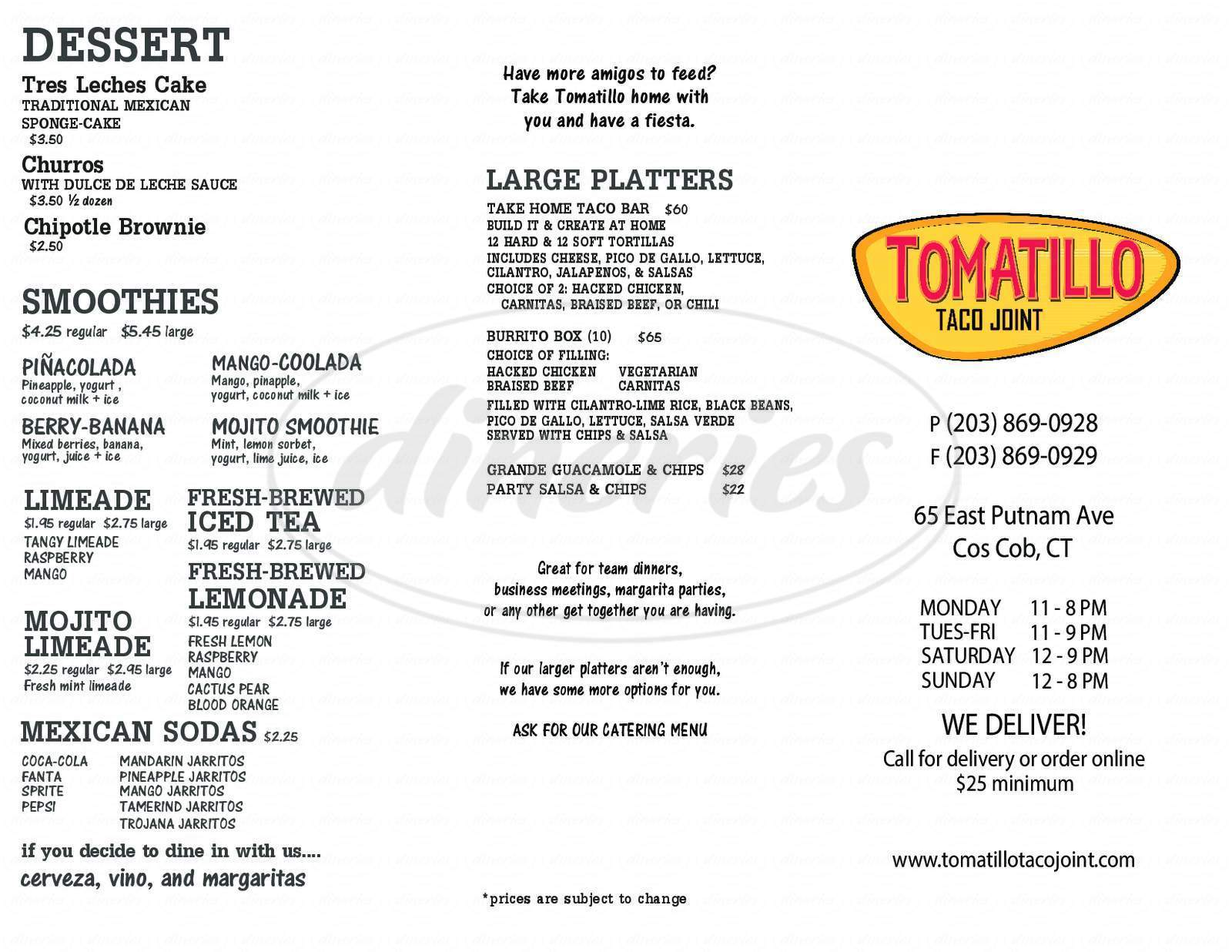 menu for Tomatillo Taco Joint