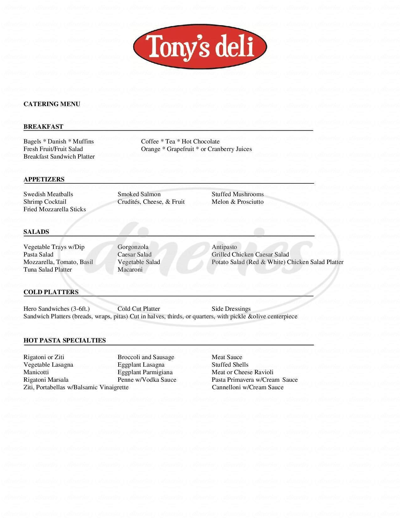 menu for Tony's Deli