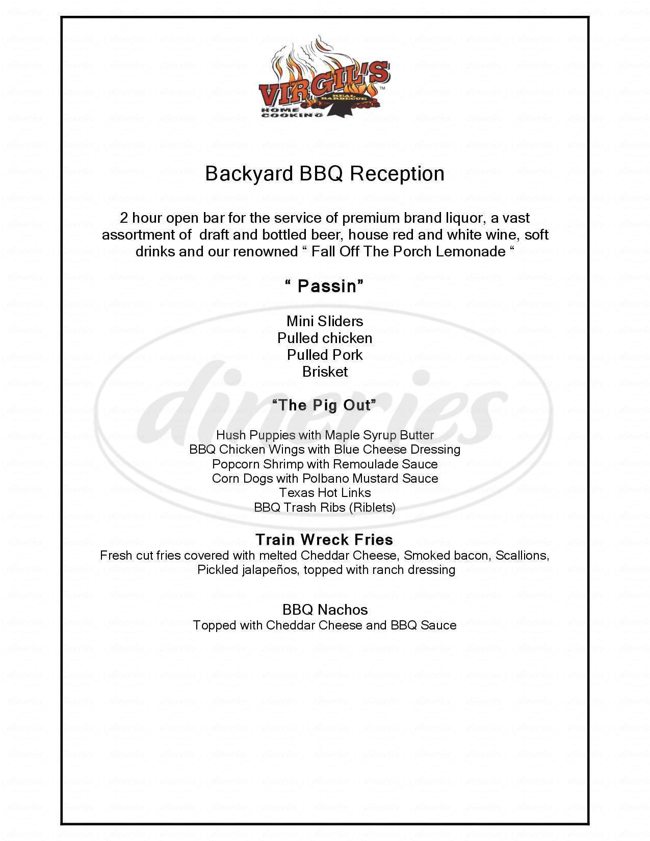 menu for Virgil's Real BBQ