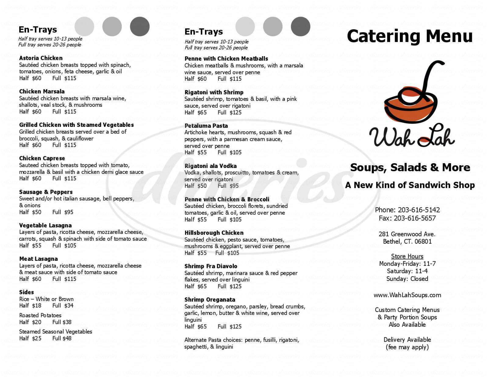 menu for Wah Lah