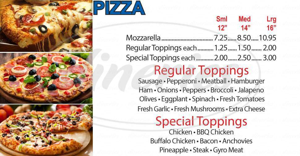 menu for Pizza Works