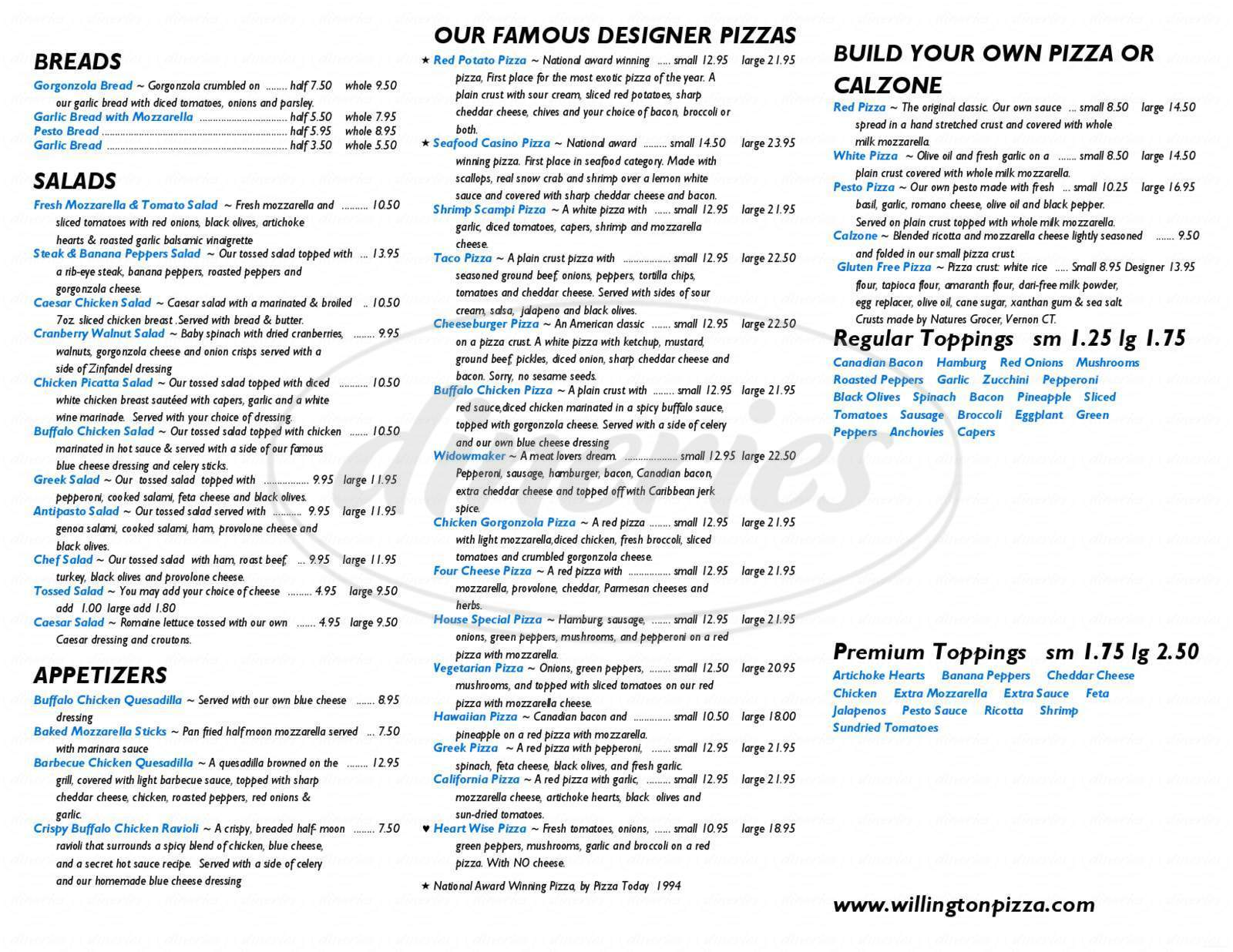 menu for Willington Pizza House