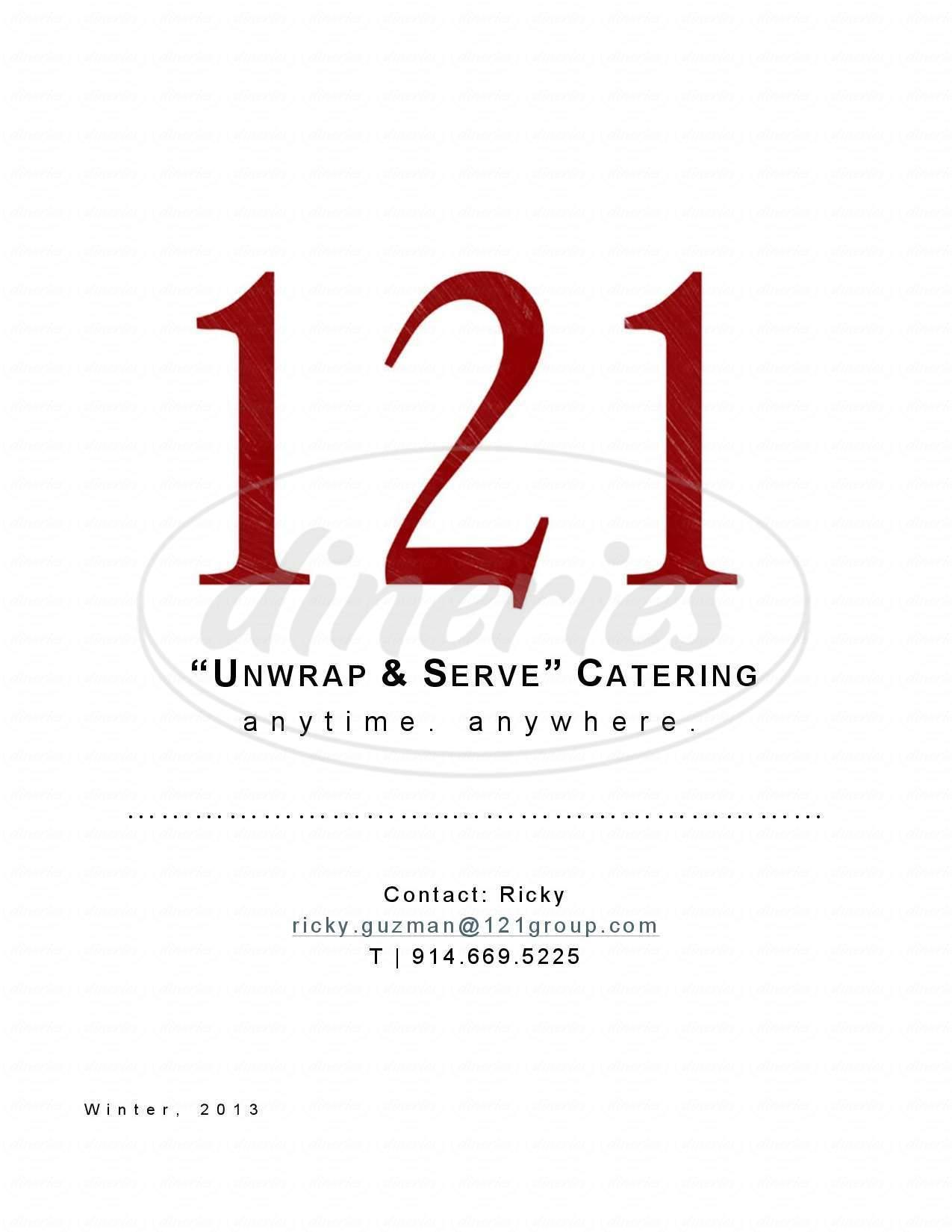 menu for 121 Restaurant
