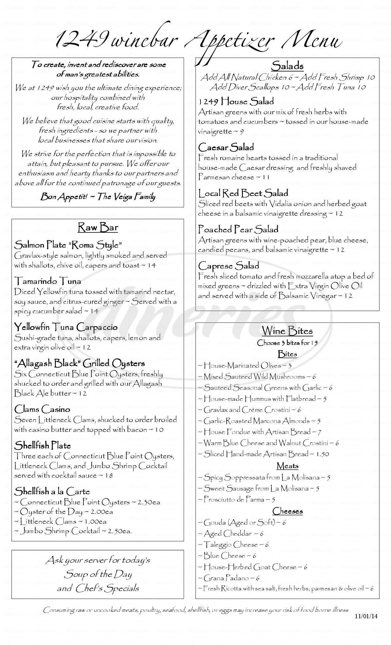 menu for 1249 Wine Bar