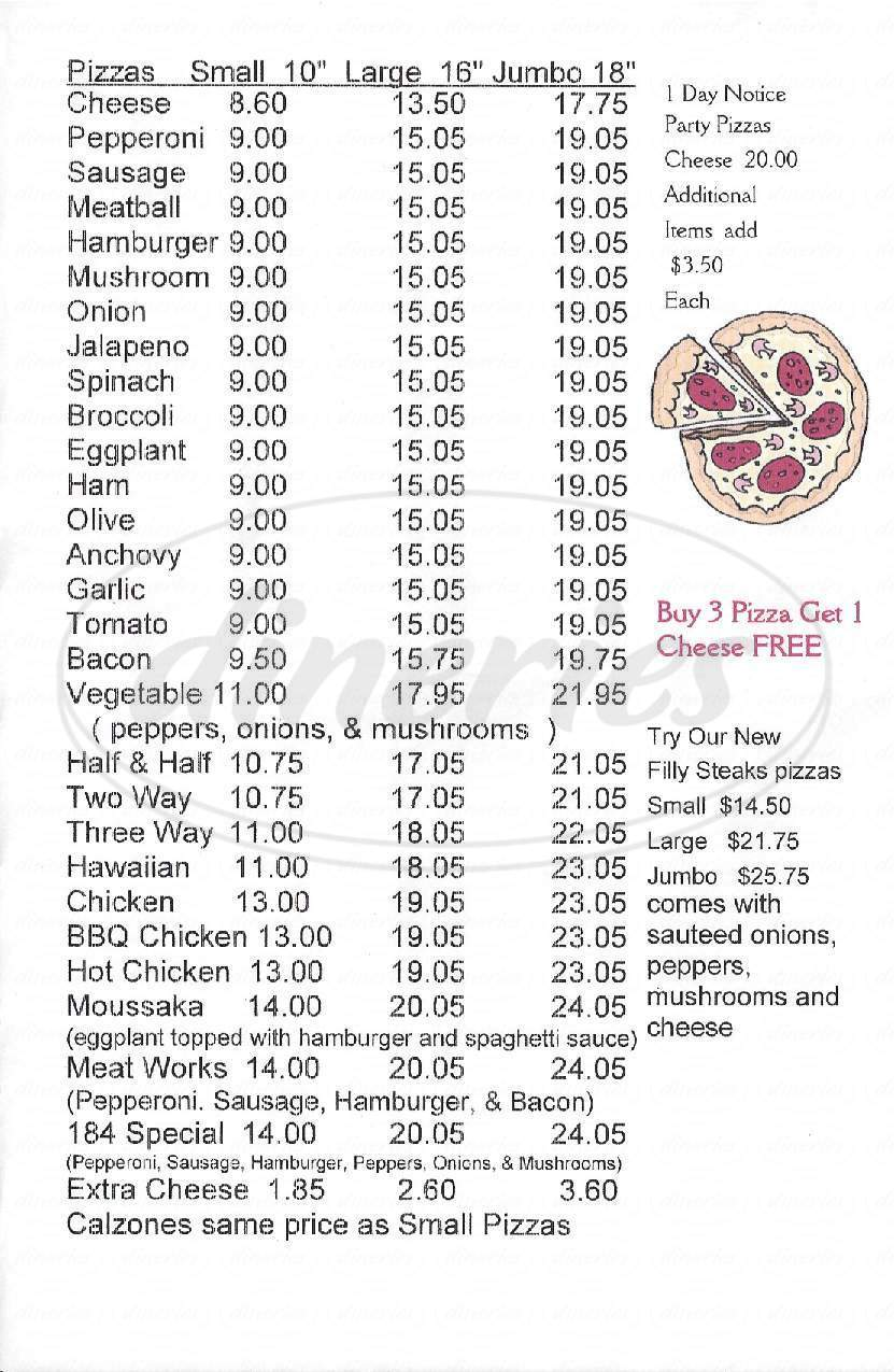 menu for 184 Pizzeria