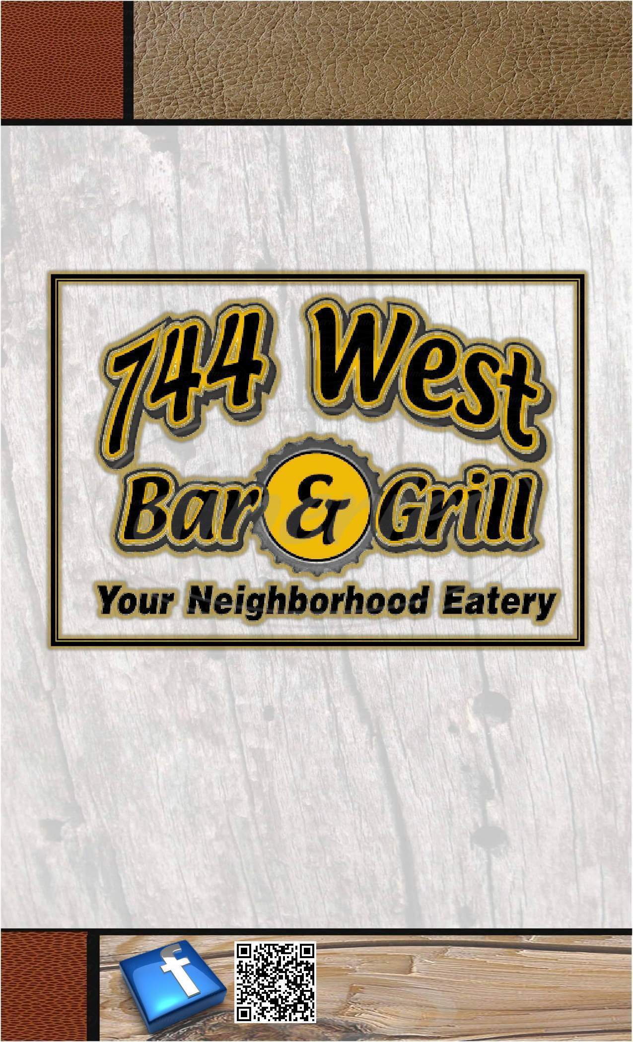 menu for 744 West Bar & Grill