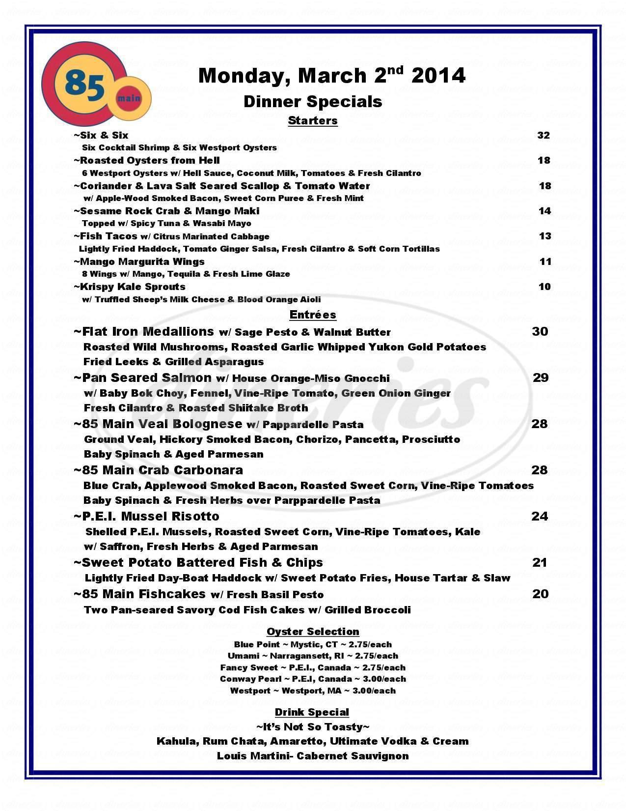 menu for 85 Main