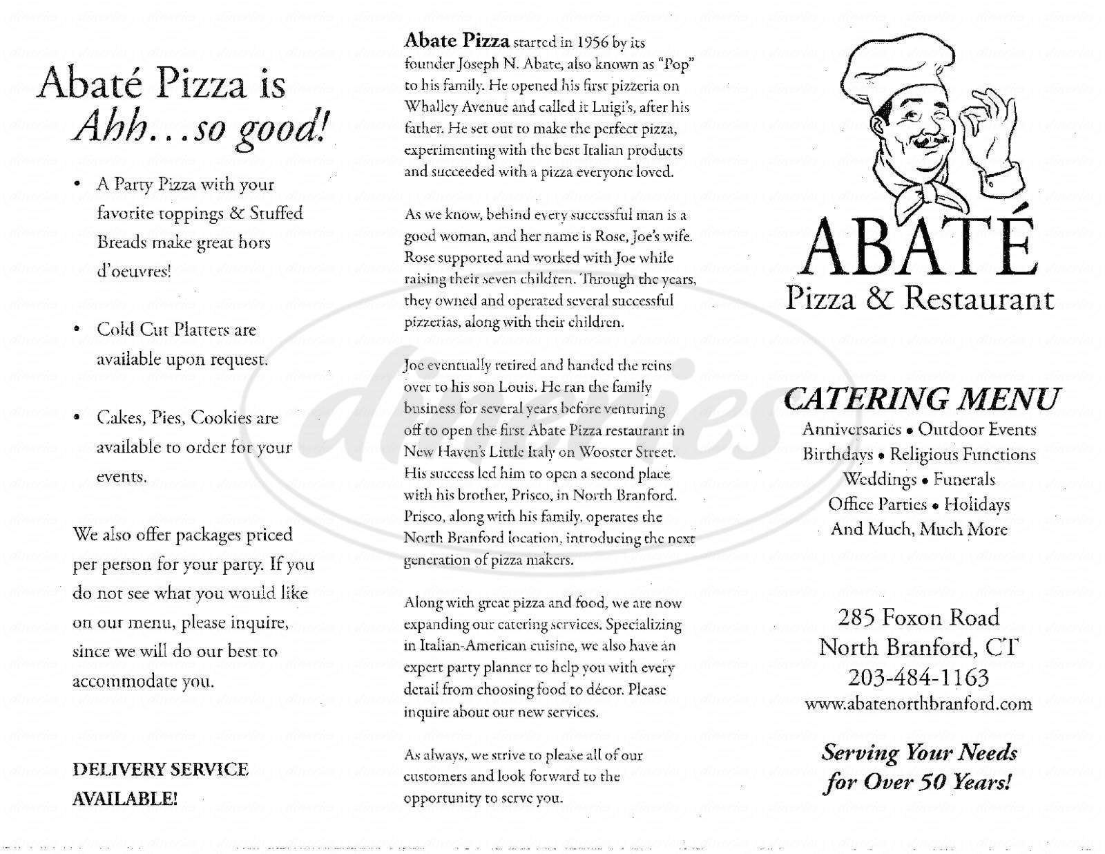 menu for Abate's Apizza & Restaurant