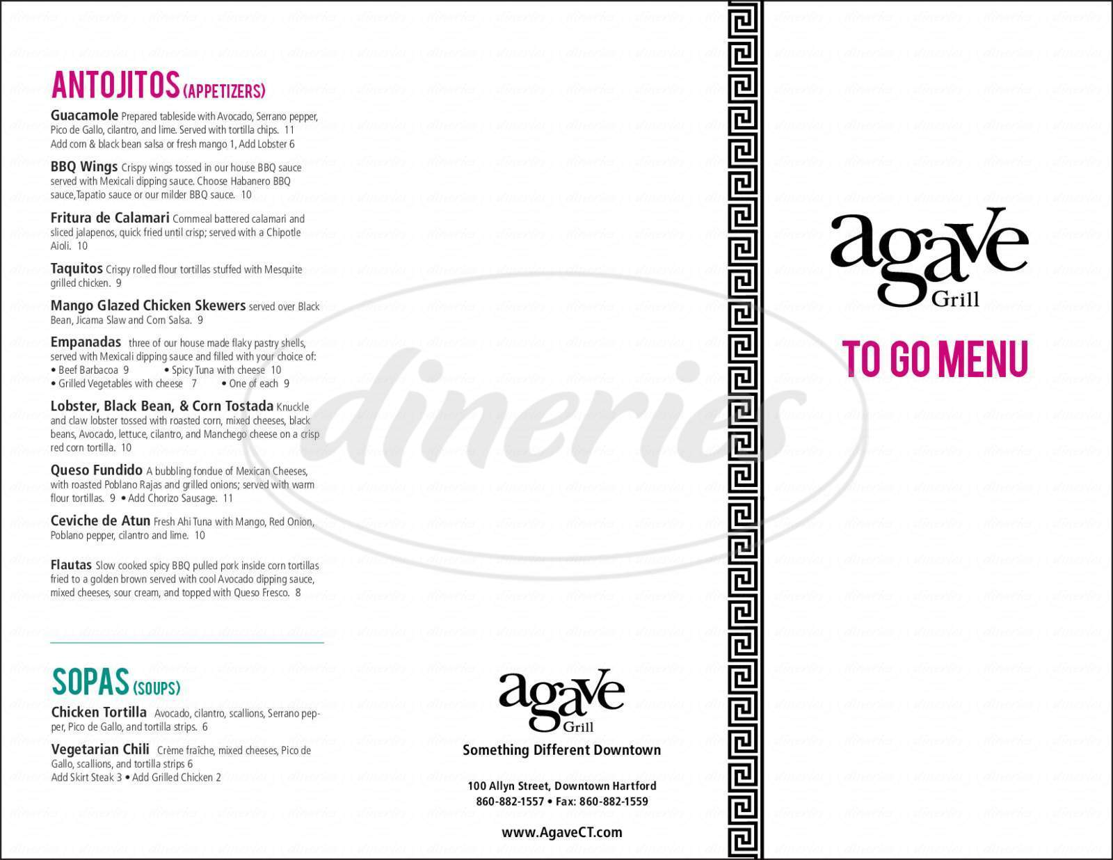 menu for Agave Grill & Tequila Bar