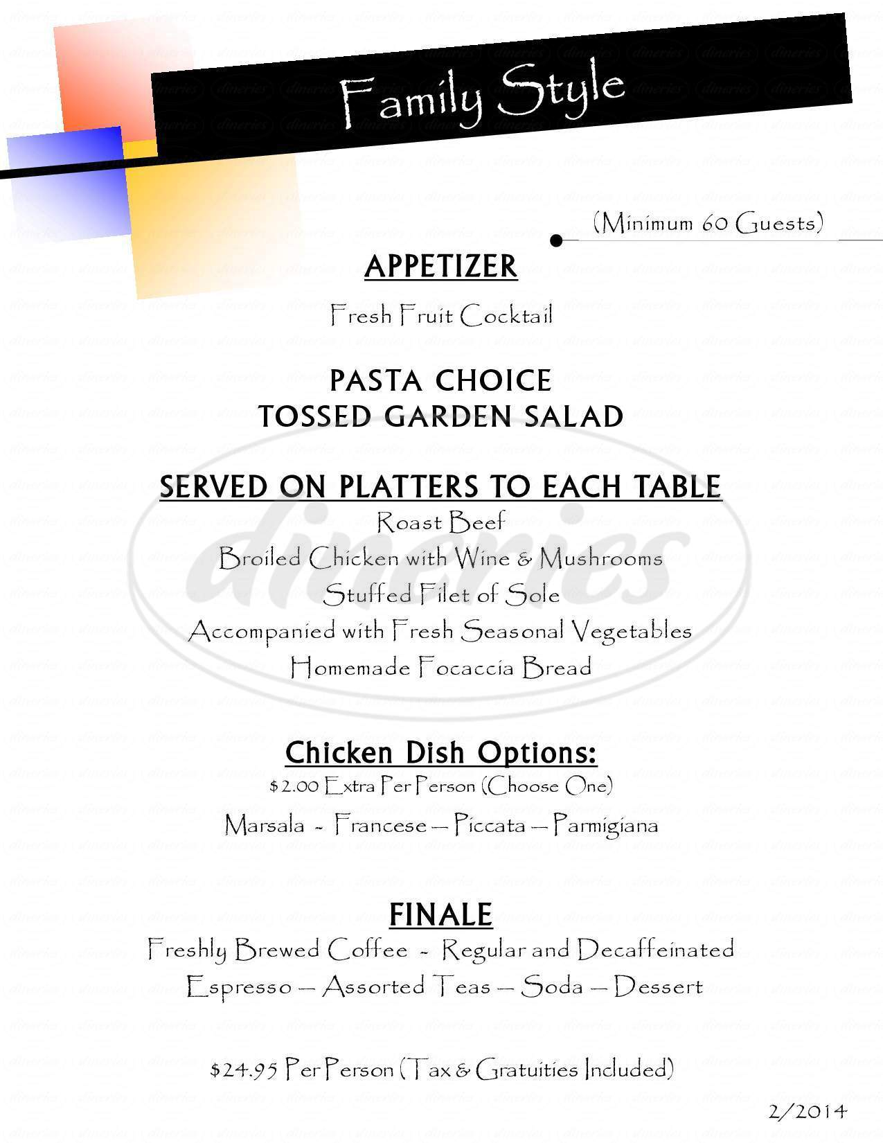 menu for Aldario's Restaurant