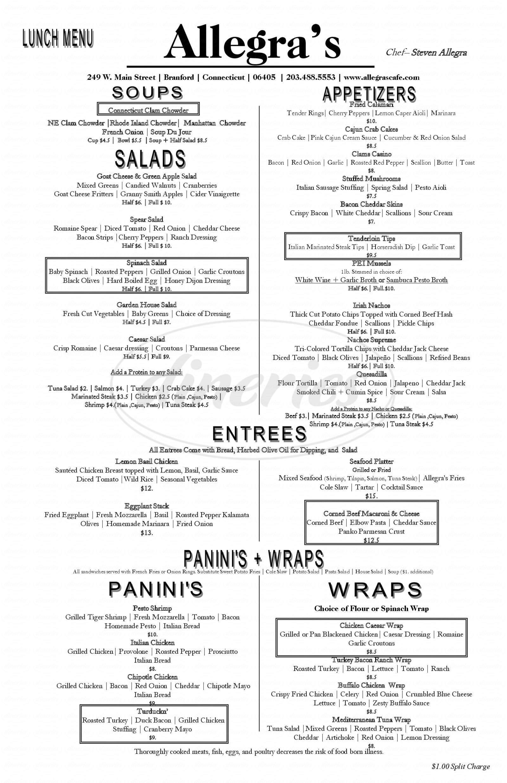menu for Allegra's Cafe
