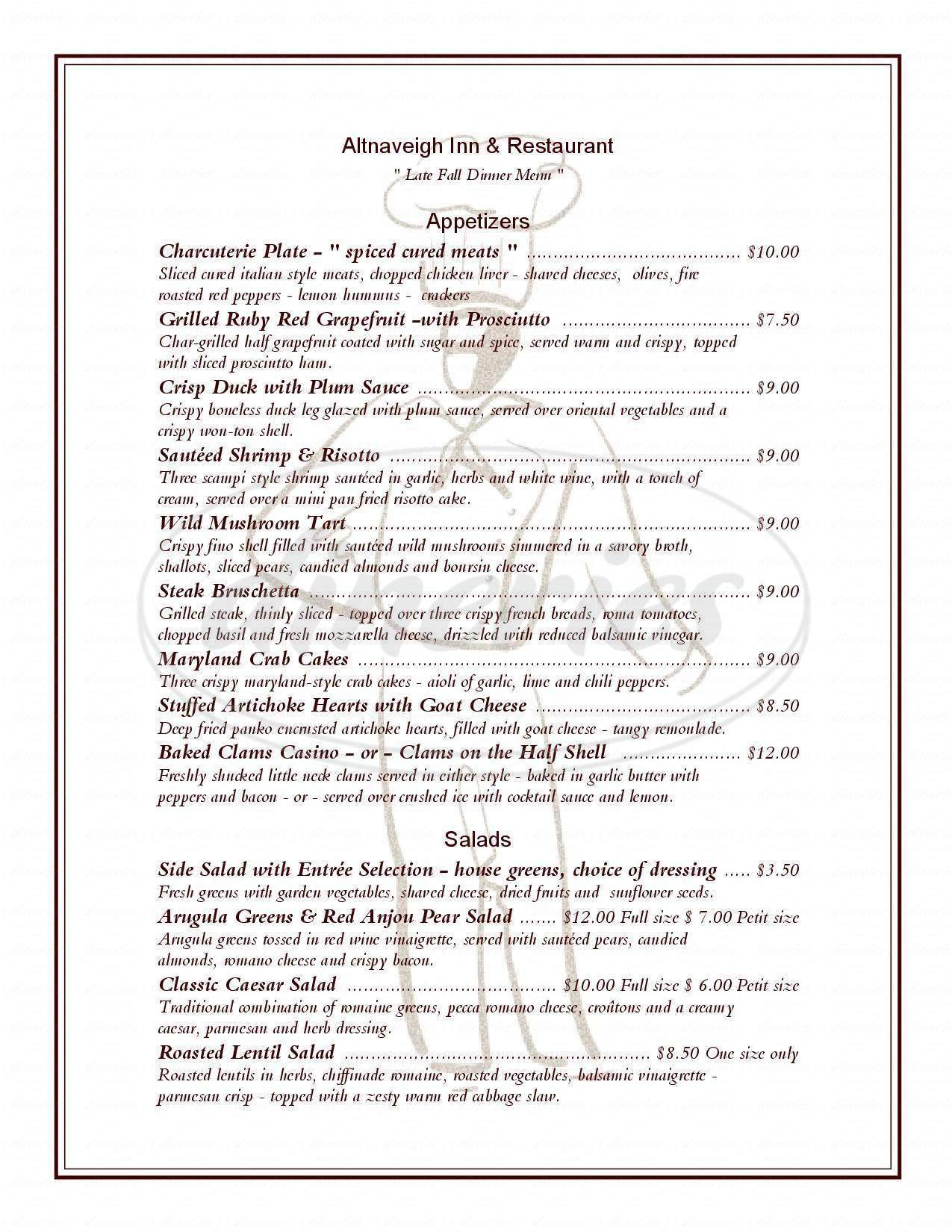 menu for Altnaveigh Inn