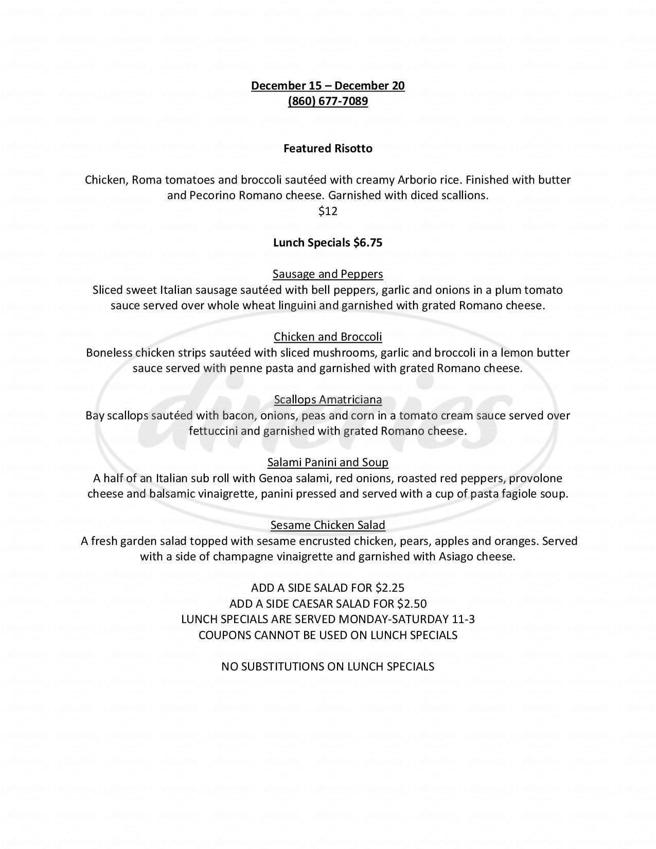 menu for Amici Italian Grill