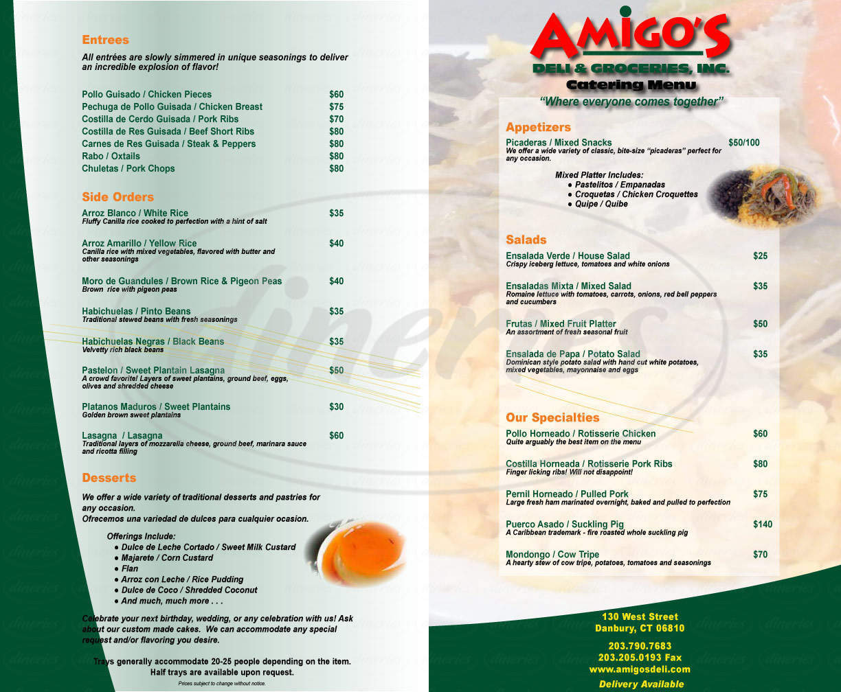 menu for Amigos Deli & Market