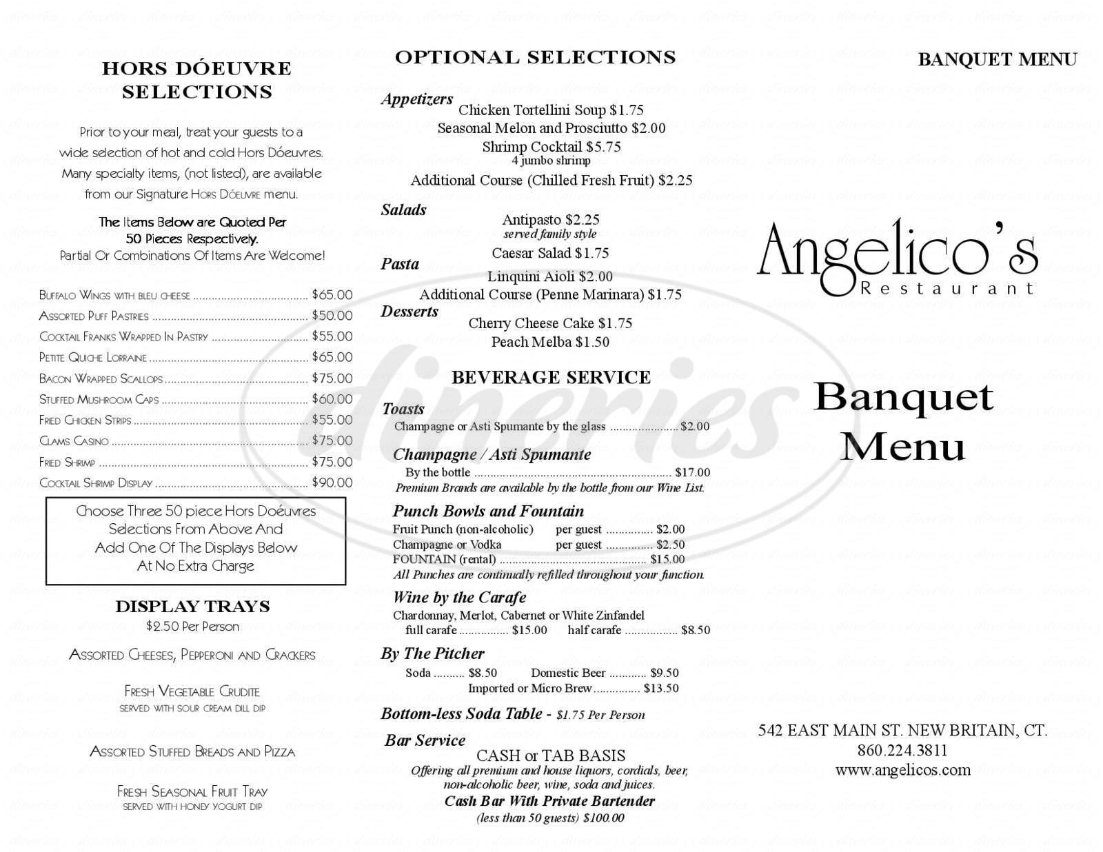 menu for Angelico's Cafe