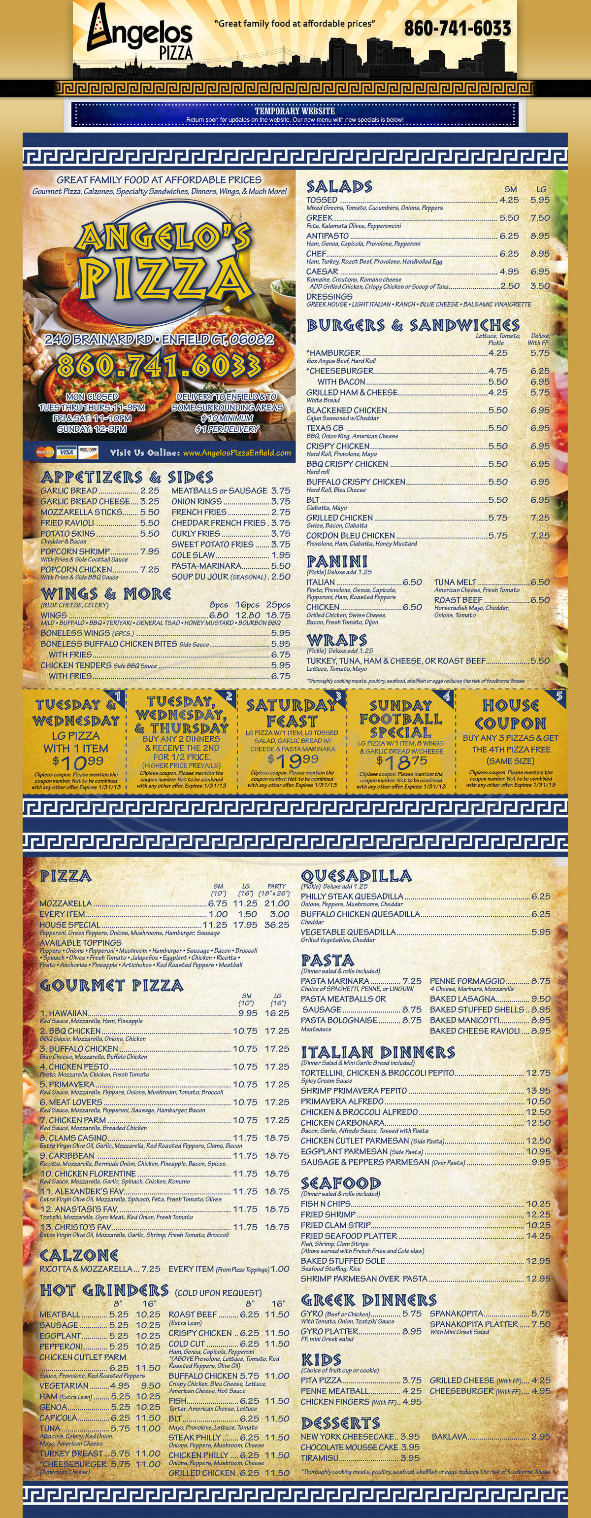 menu for Angelos Pizza