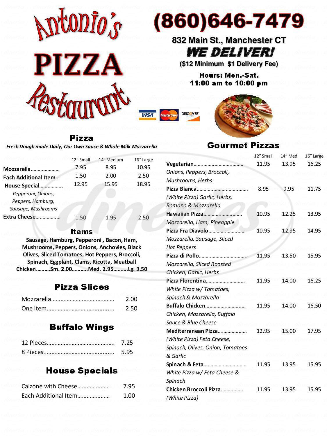 menu for Antonio's Pizza Restaurant