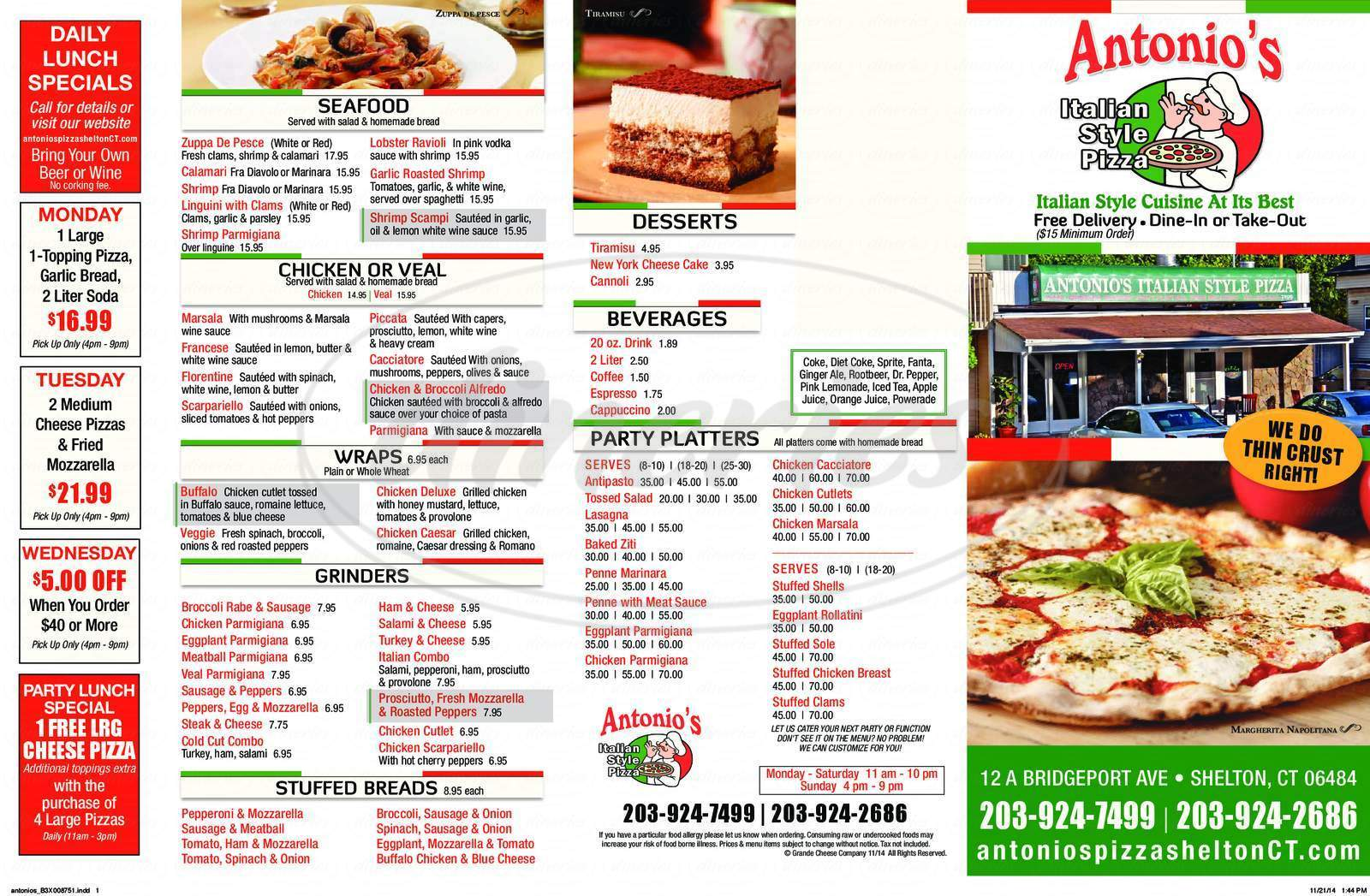 menu for Antonio's Pizza
