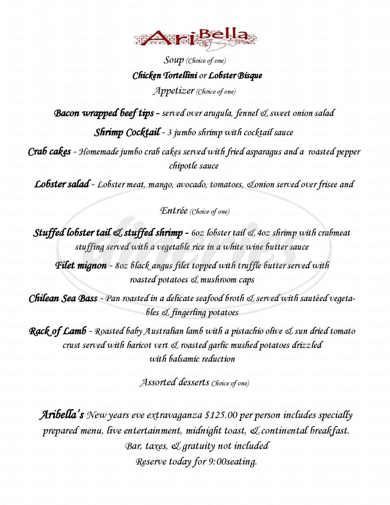 menu for Ari Bella