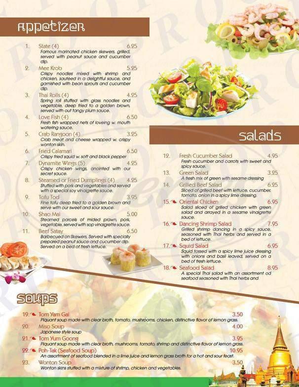 menu for Asian Thai