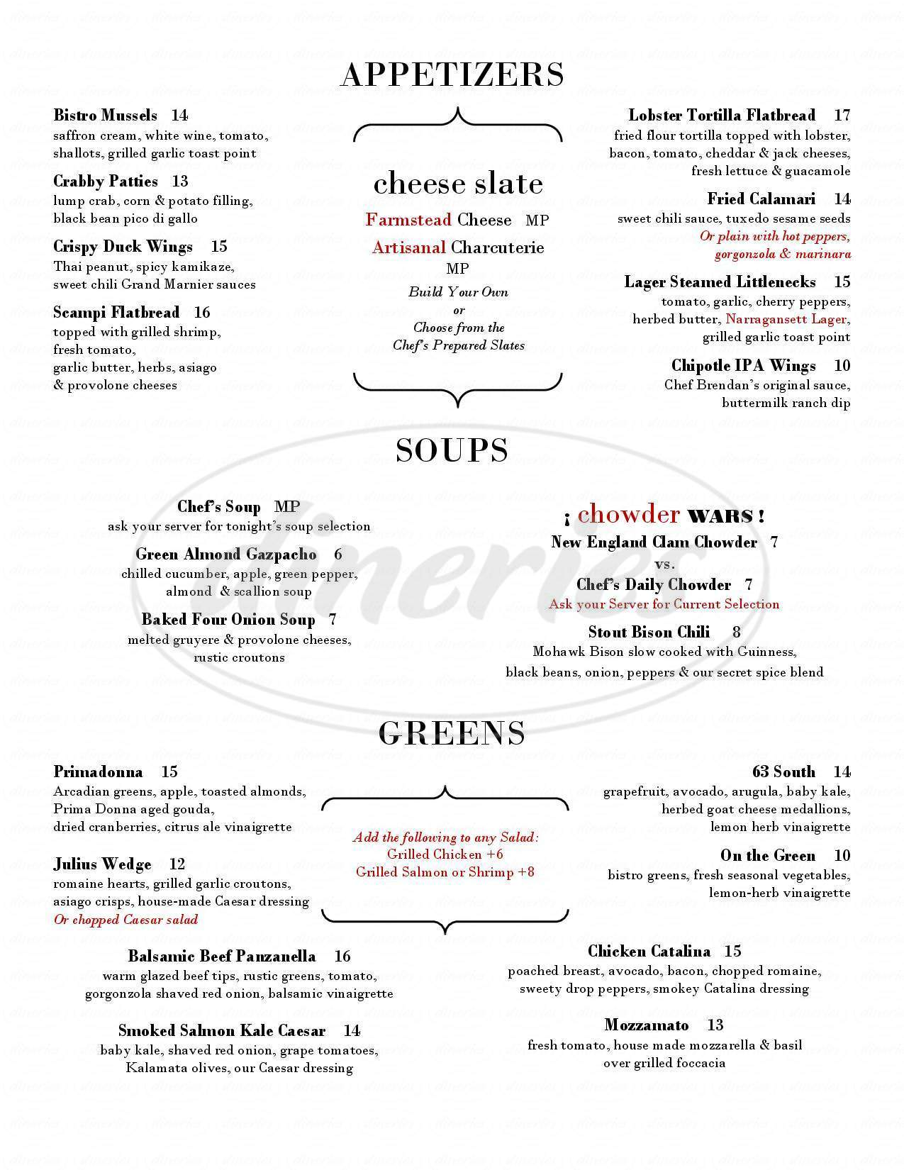 menu for At the Corner