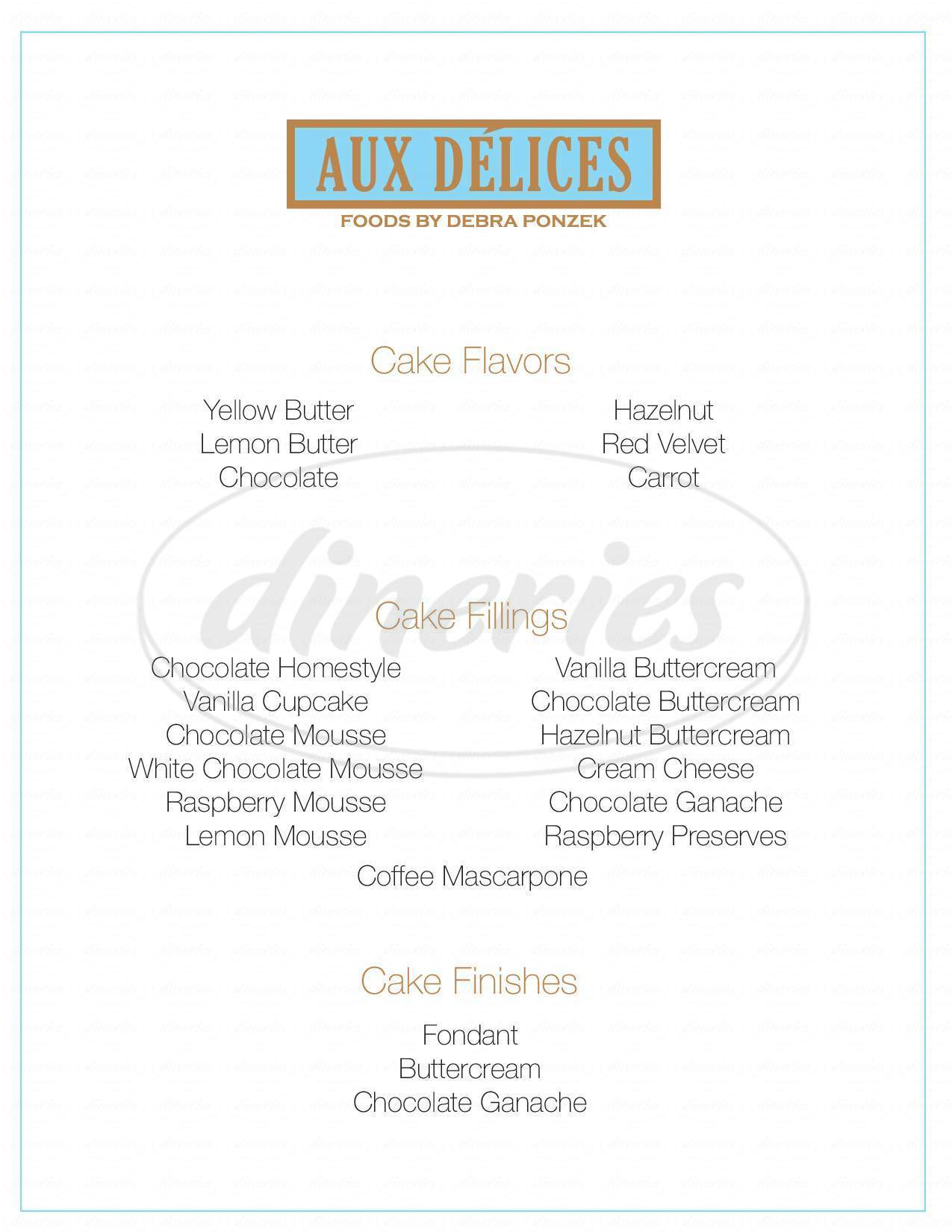 menu for Aux Delices