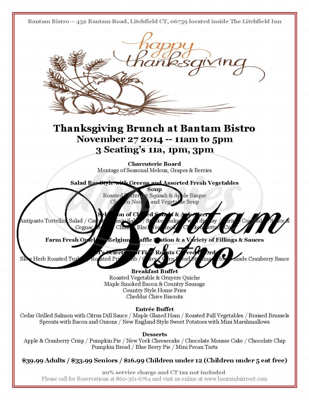 menu for Bantam Bistro