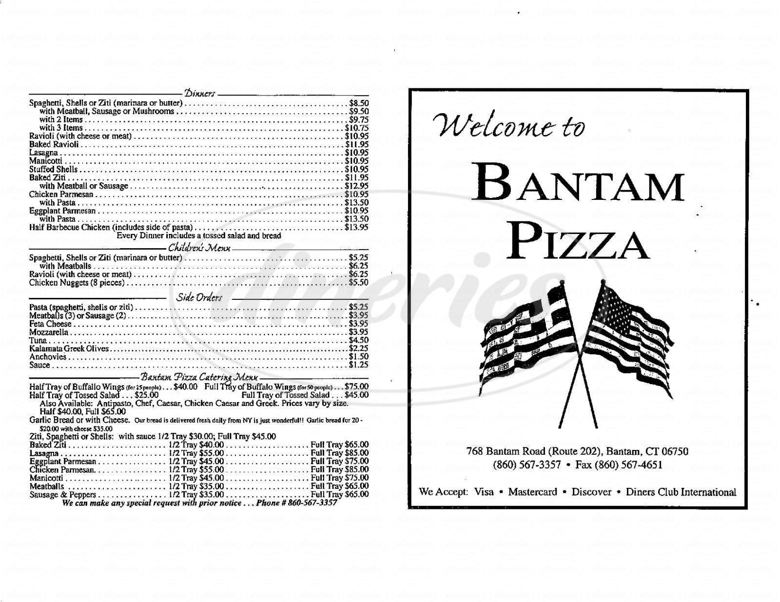 menu for Bantam Pizza & Restaurant