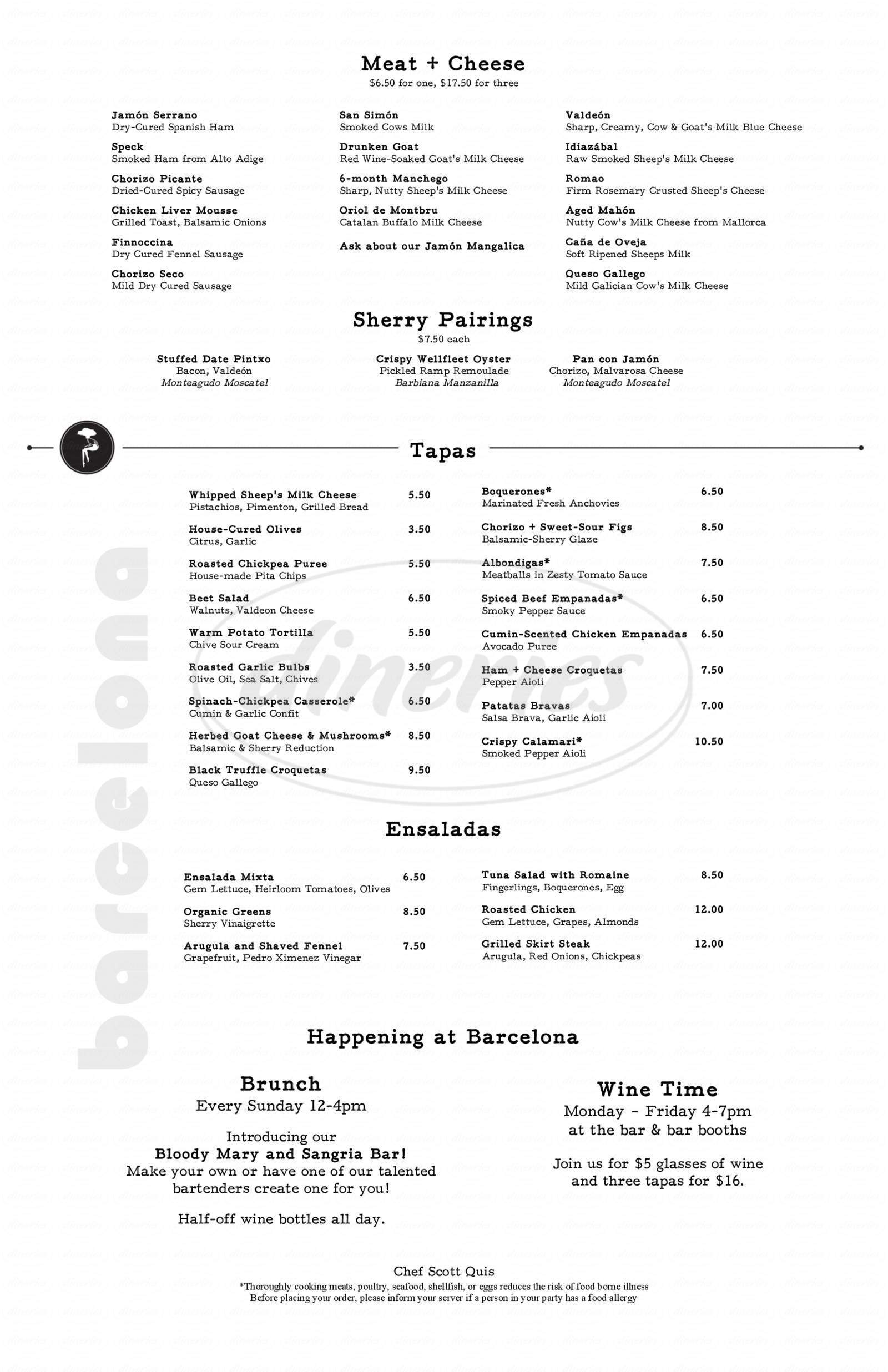 menu for Barcelona Wine Bar & Restaurant