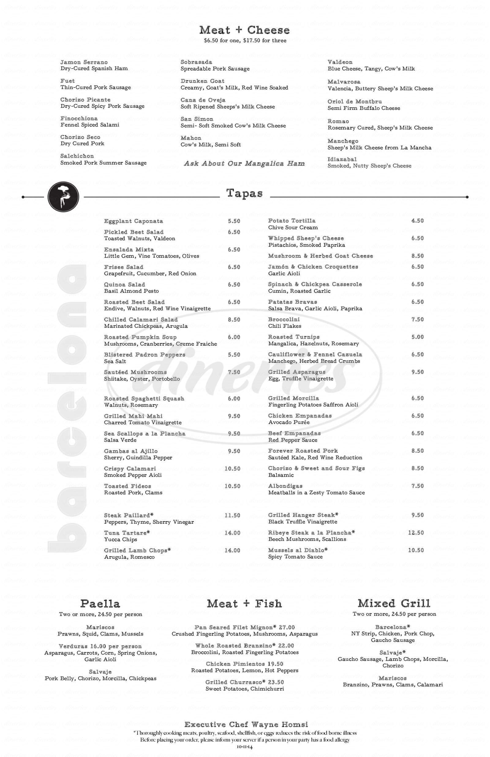 menu for Barcelona Restaurant & Wine Bar