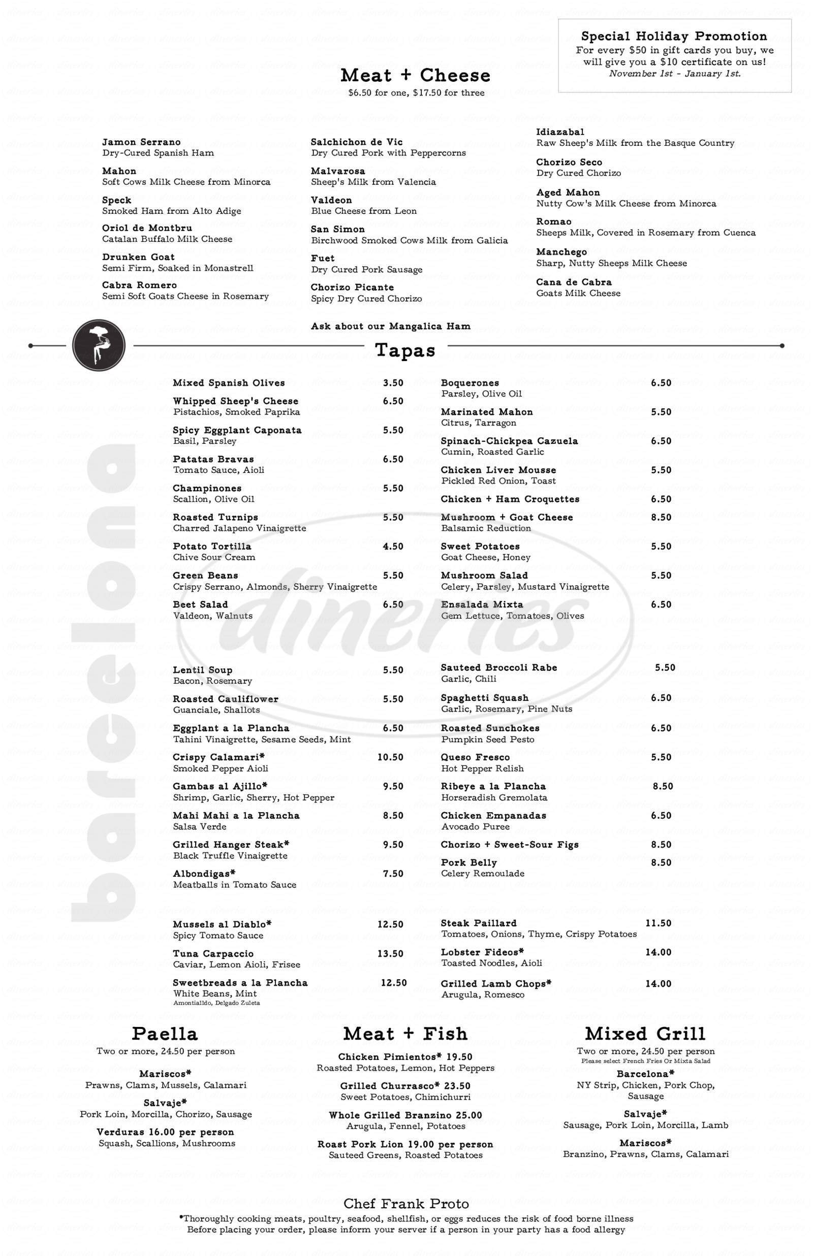 menu for Barcelona