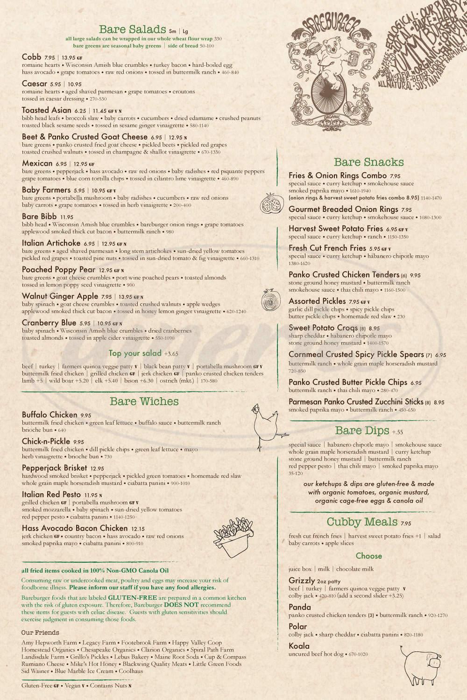 menu for Bareburger