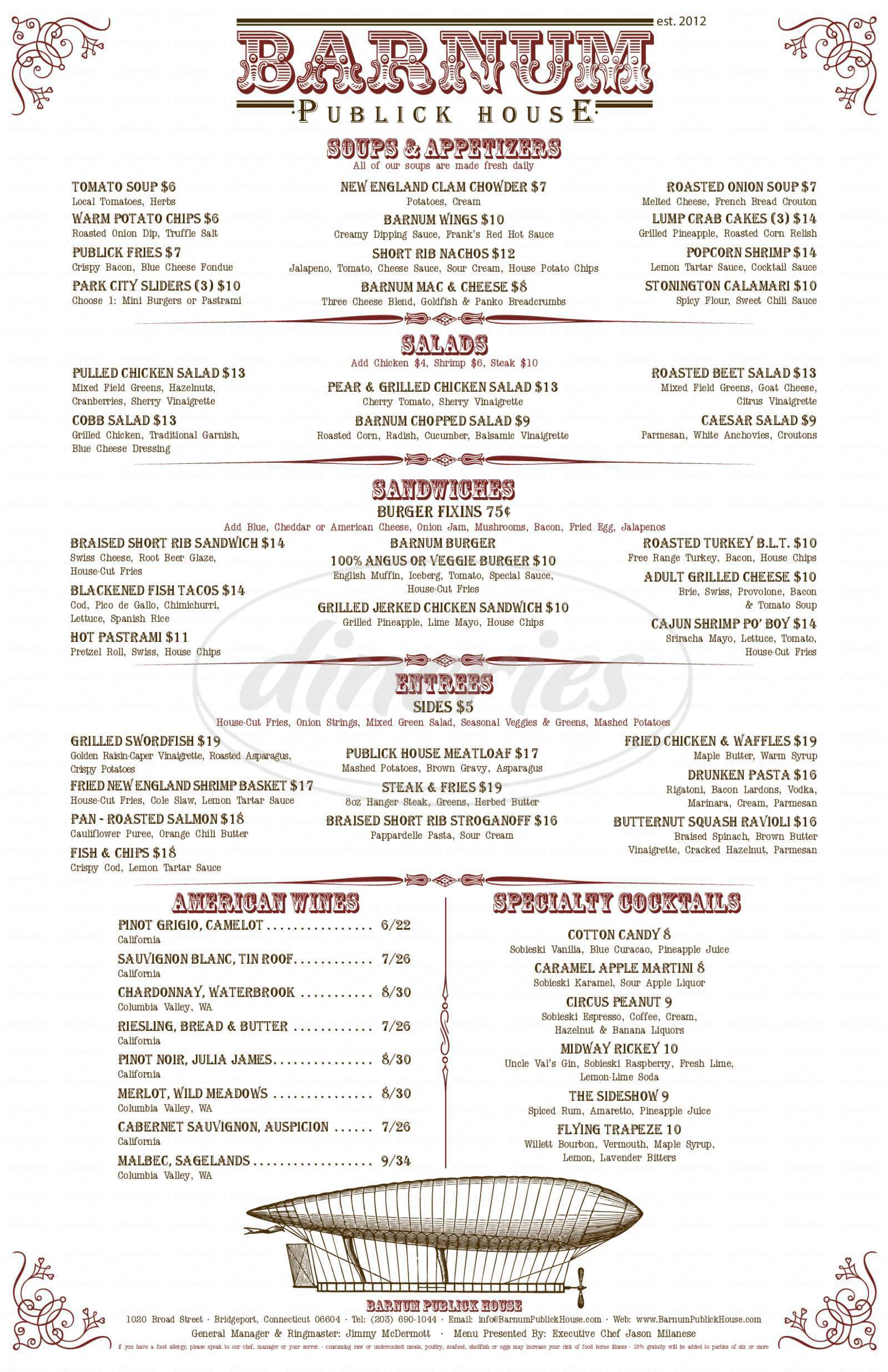 menu for Barnum Publick House