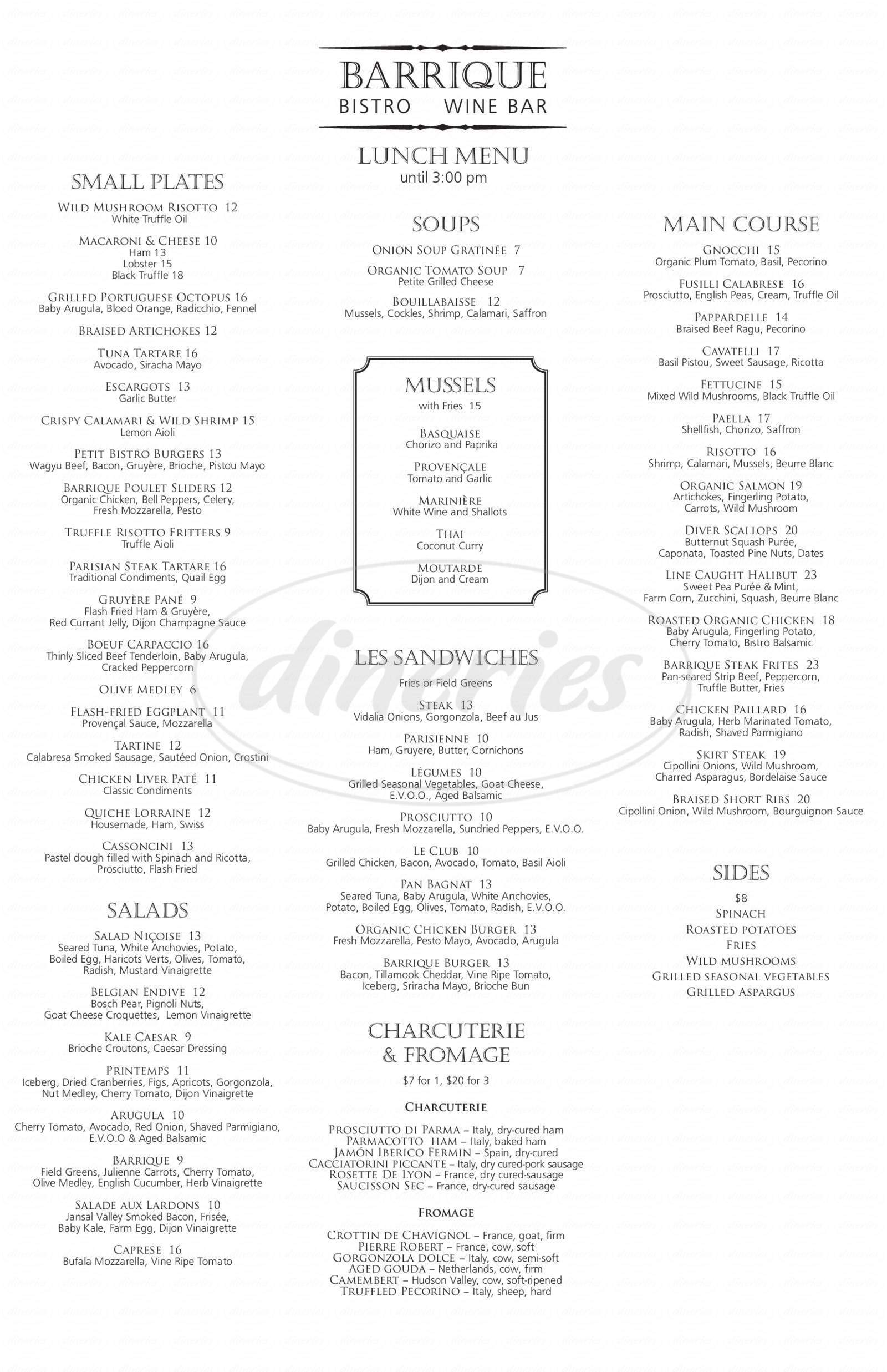 menu for Barrique Bistro & Wine Bar