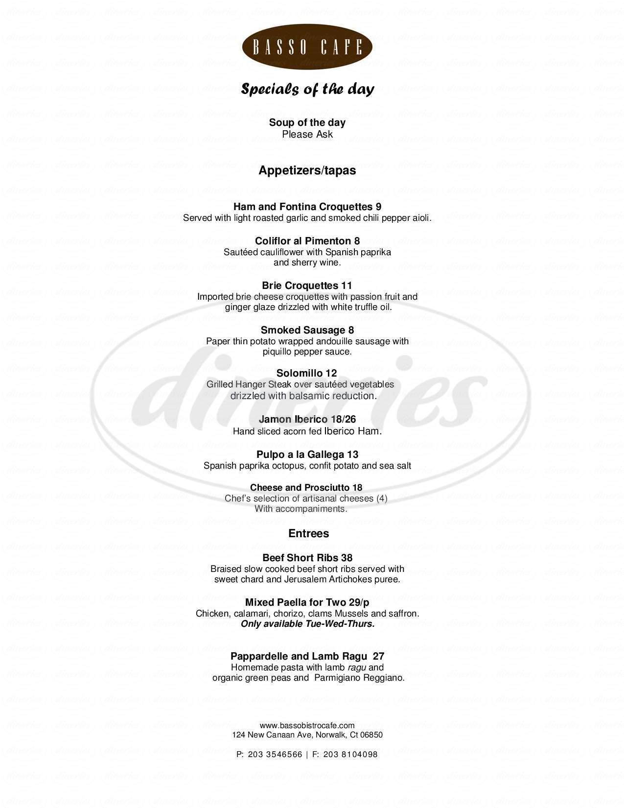menu for Basso Cafe Restaurant
