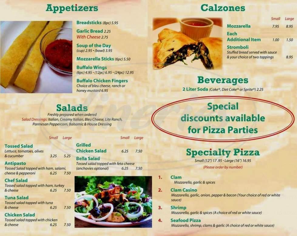 menu for Bella Gourmet Pizzeria