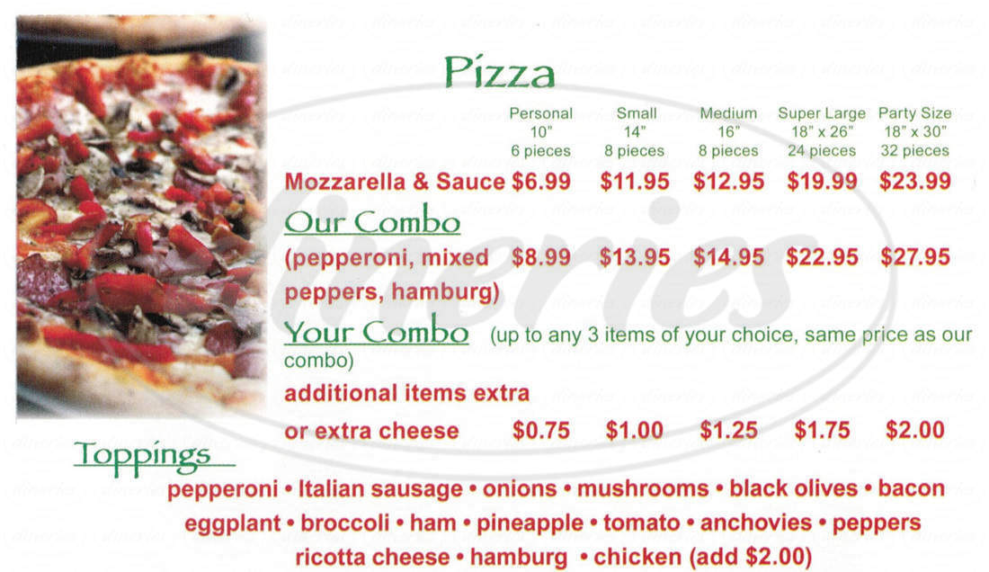 menu for Antonio's Italian Pizzeria